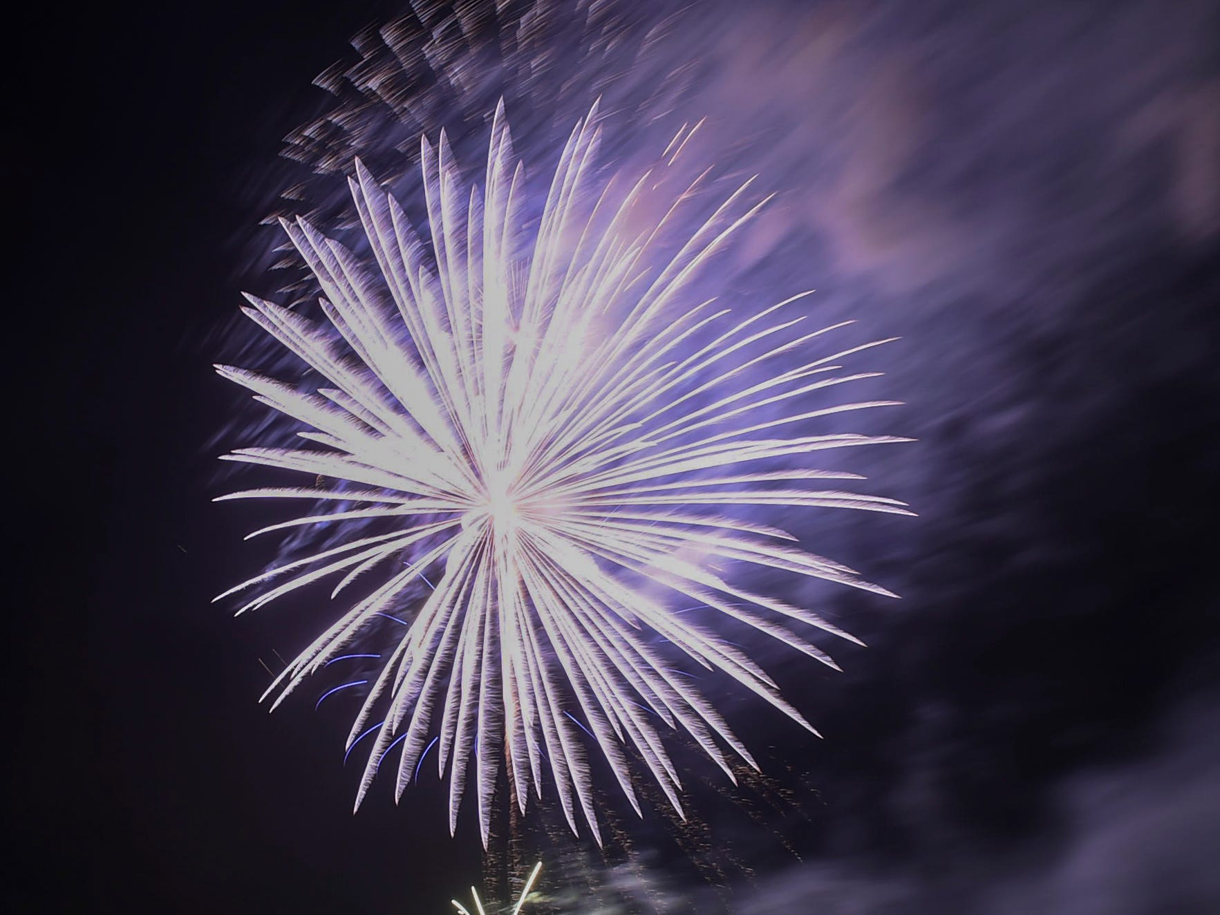 New Year's Day fireworks light up the sky over Tumon Bay, Jan. 1, 2019.