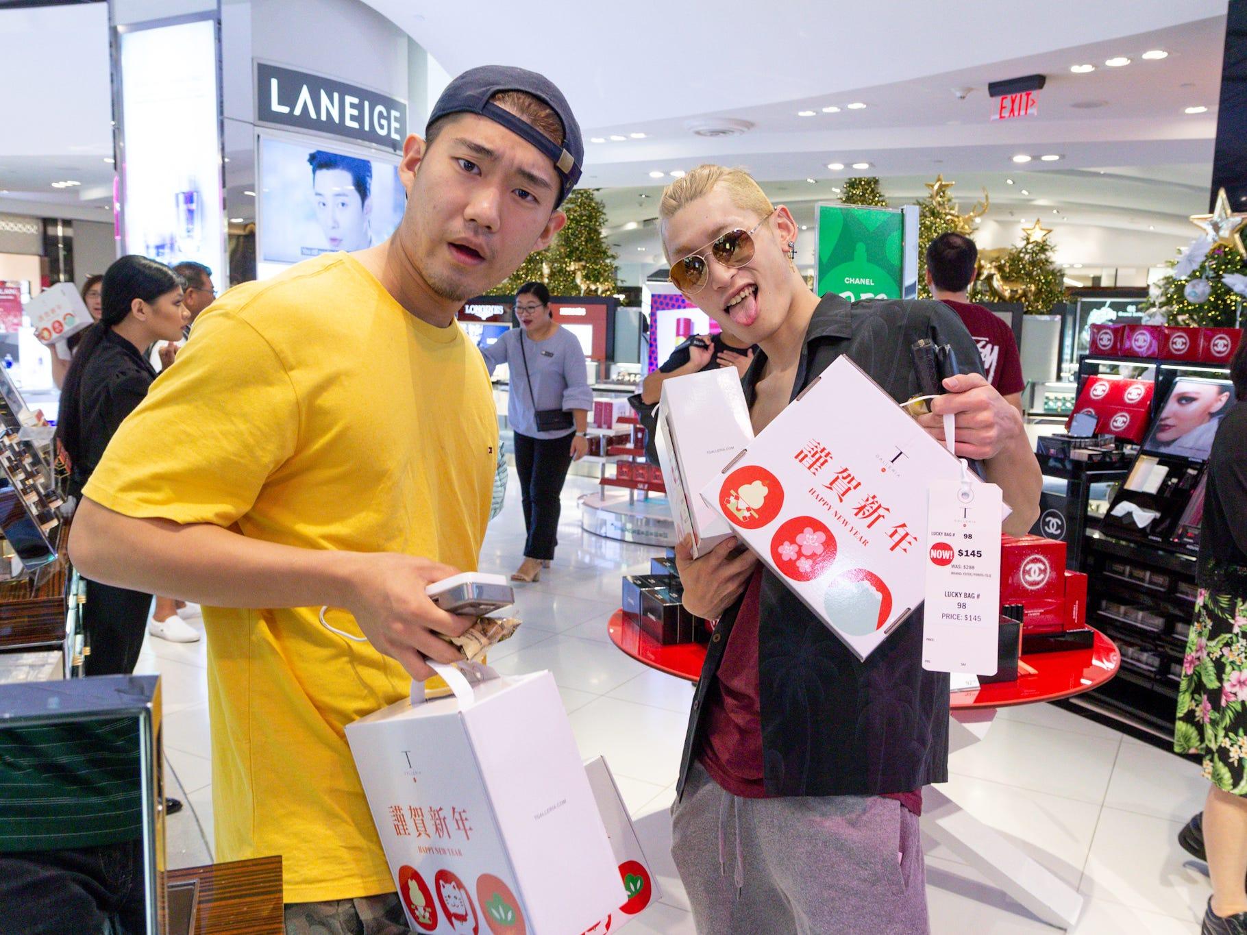 Fukubukuro shopping experience held at DFS Galleria New Year's morning.
