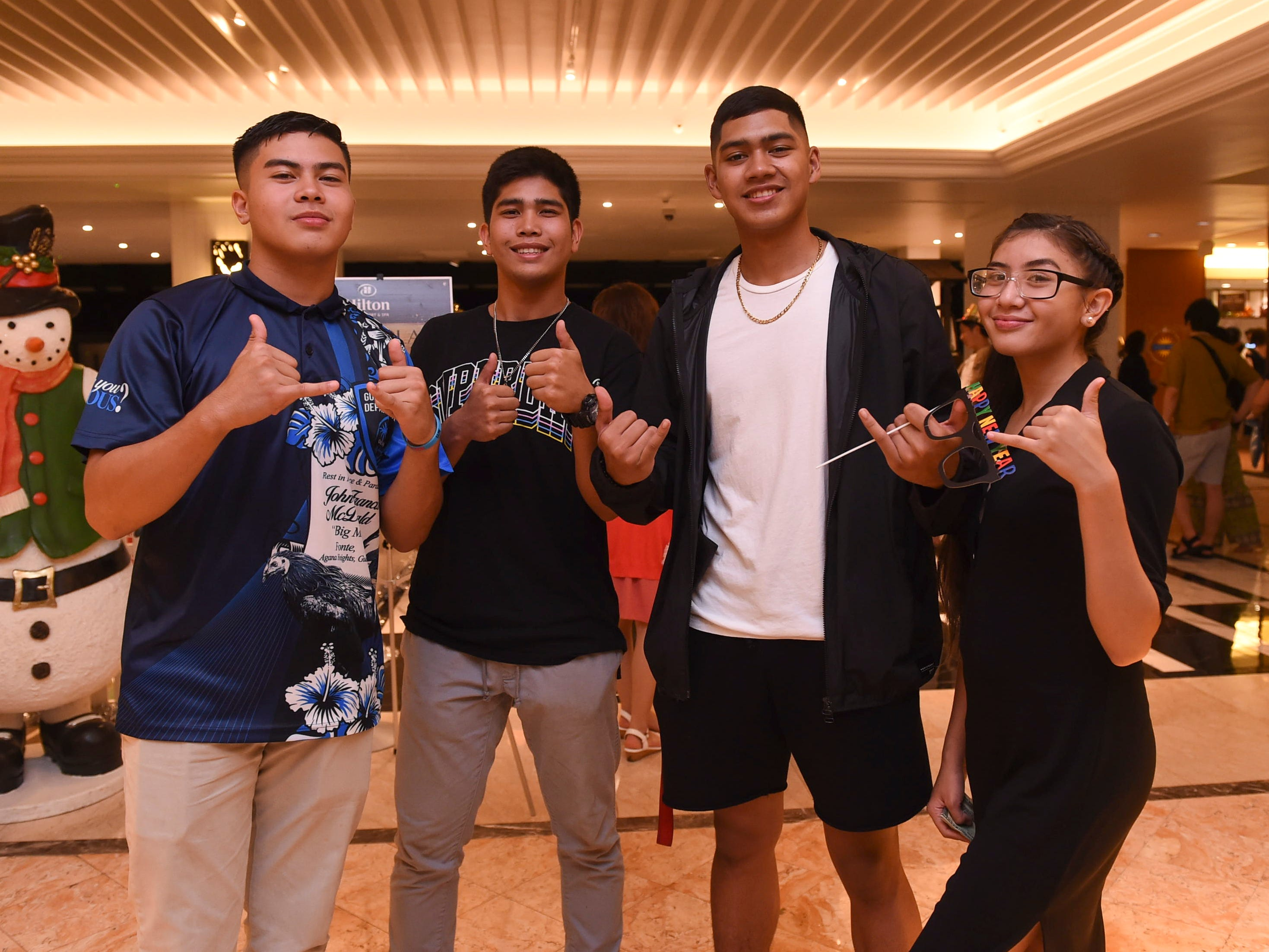Families celebrate the new year at the Hilton Guam Resort and Spa, Jan. 1, 2019.