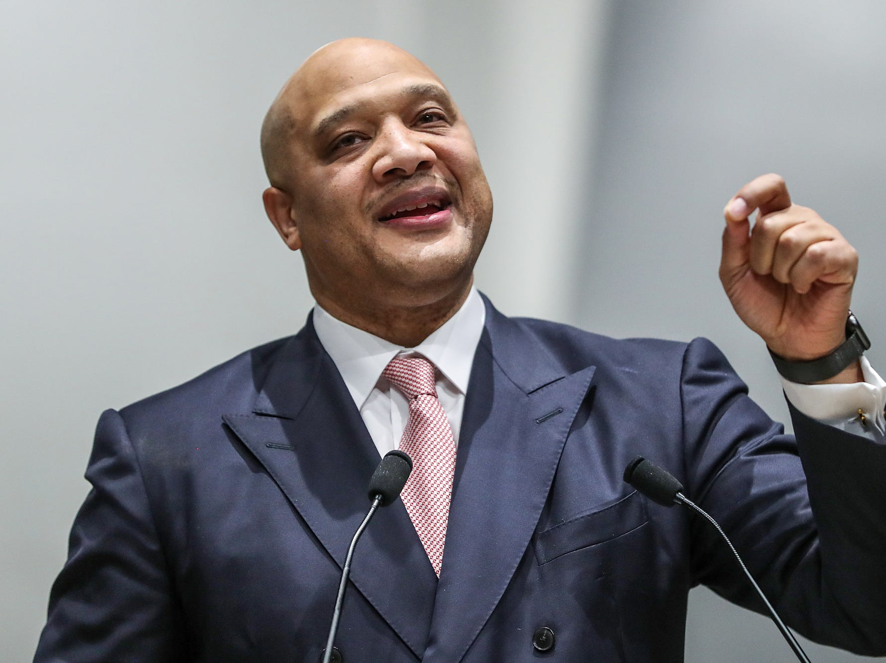 U.S. Rep. Andre Carson delivers remarks on the state of the nation during a service celebrating the anniversary of the Emancipation Proclamation and honoring local leaders, at Olivet Missionary Baptist Church in Indianapolis, Tuesday, Jan. 1, 2019.