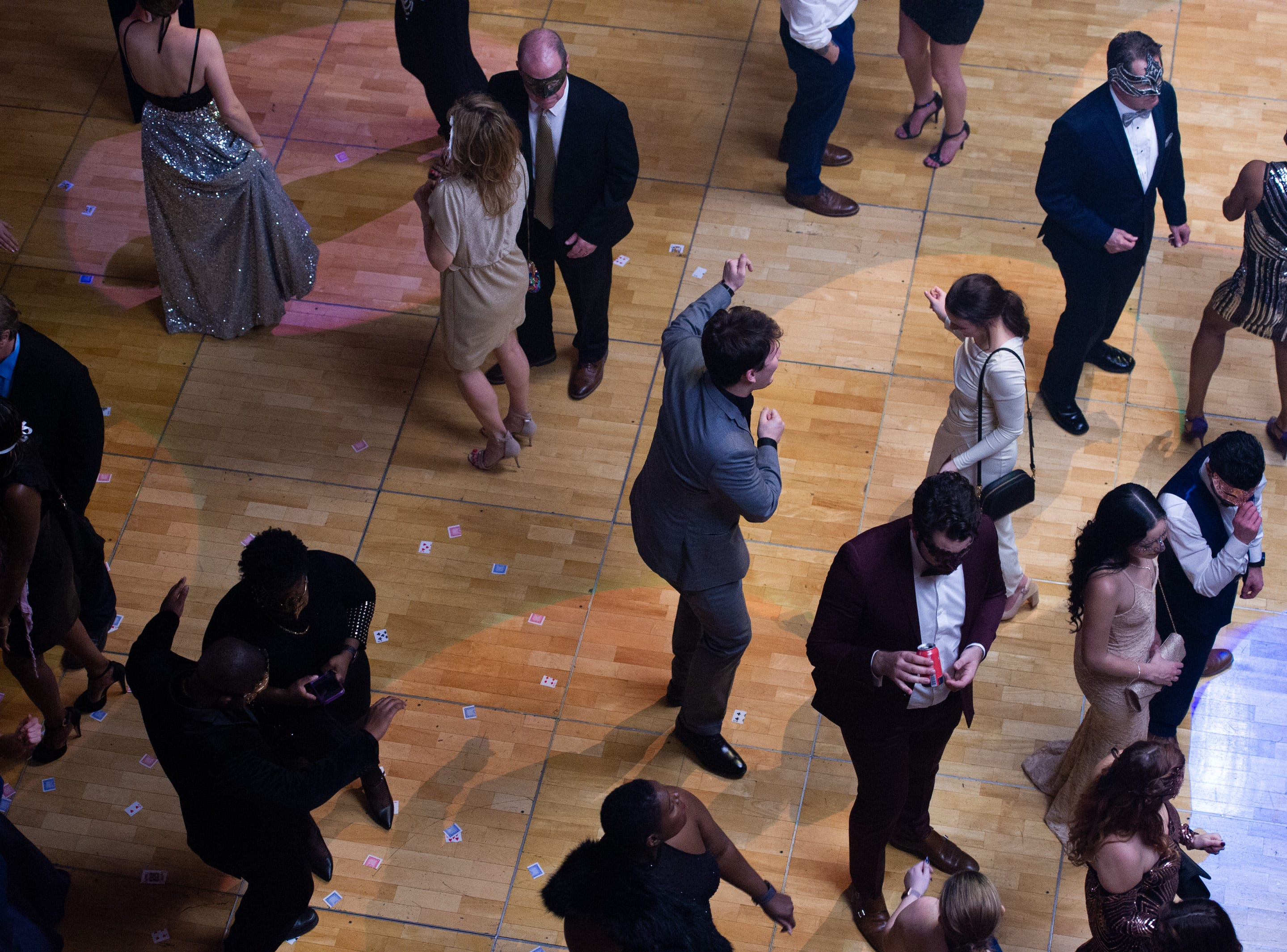 Guests dance on the dance floor Monday, Dec. 31, 2018, at The 12th Annual Indy Masquerade held at Union Station in Indianapolis.