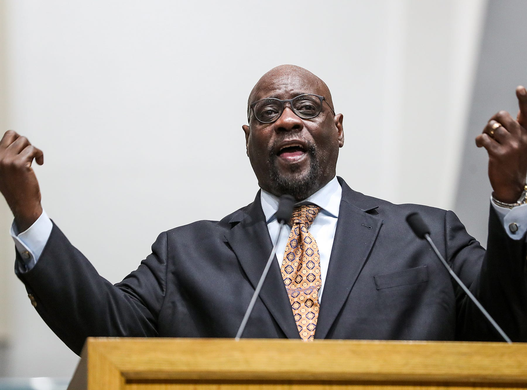 Bishop Kevin Harrison, from Grace Apostolic Church, speaks during a service celebrating the anniversary of the Emancipation Proclamation and honoring local leaders, at Olivet Missionary Baptist Church in Indianapolis, Tuesday, Jan. 1, 2019.