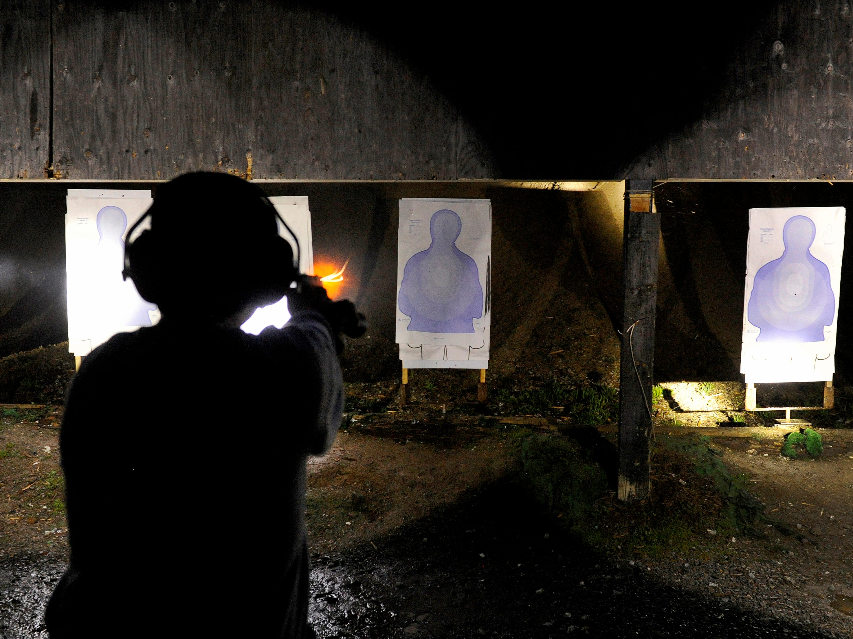 """Sgt. Kenny House, THP firearms instructor, says the learning to fire your weapon with a flashlight in the support hand, """"Is vital for an officer safety."""" An officer uses their flashlight more than just at night. House says, """"Bottom line it's all about safety and the officers being competent with all the weapons they are issued."""" Cadet Alex Evans remembers, """"We got down to the range after the firearms classroom work and I was just having a ball, cause I've loved shooting since joining the military."""""""