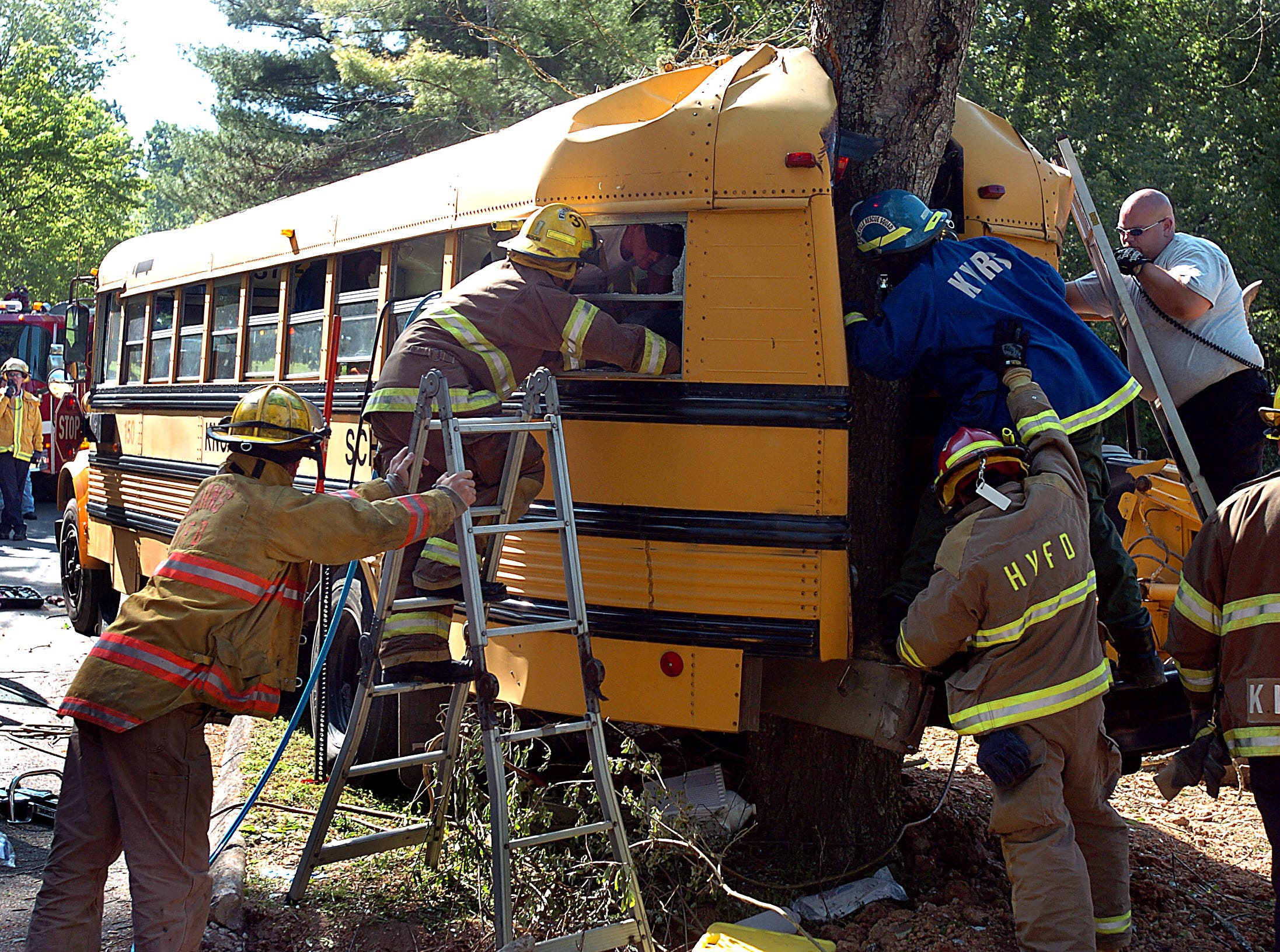Knox County School bus #150 lost power and rolled back into a tree on Glastonbury Rd in Northwest Knox County Wednesday, May 11, 2005 pinning one student in the bus for about an hour.