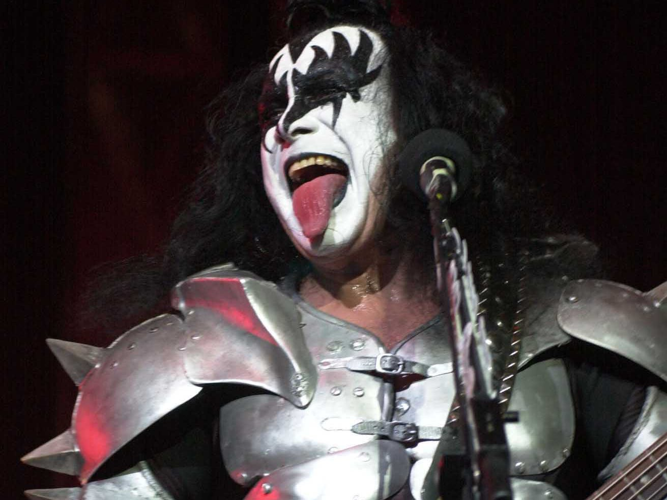 Gene Simmons performs during the opening of the KISS Concert in Knoxville Sunday night at Thompson-Boling Arena. 2000.