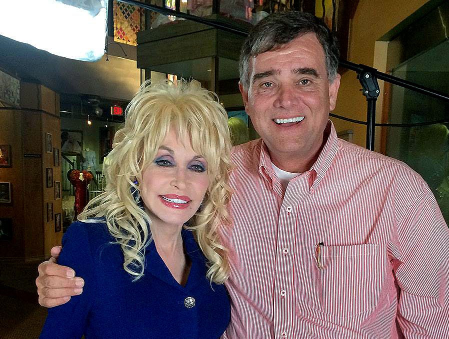 Dolly Parton  with KNS Michael Patrick following an interview at Dollywood Friday, Mar. 21, 2014 for the new Firechaser ride.