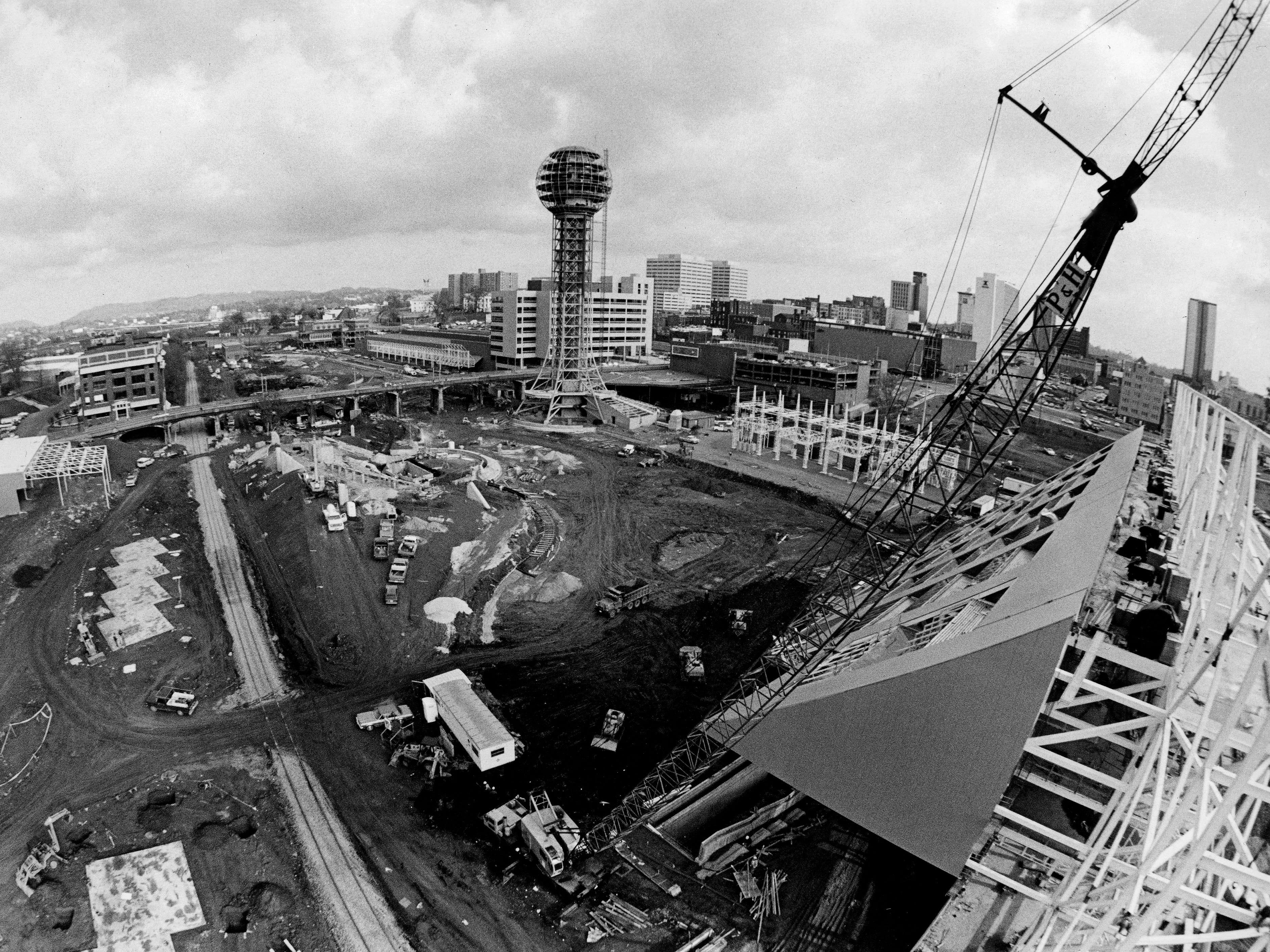 The World's Fair Park is seen under construction on December 13, 1981.