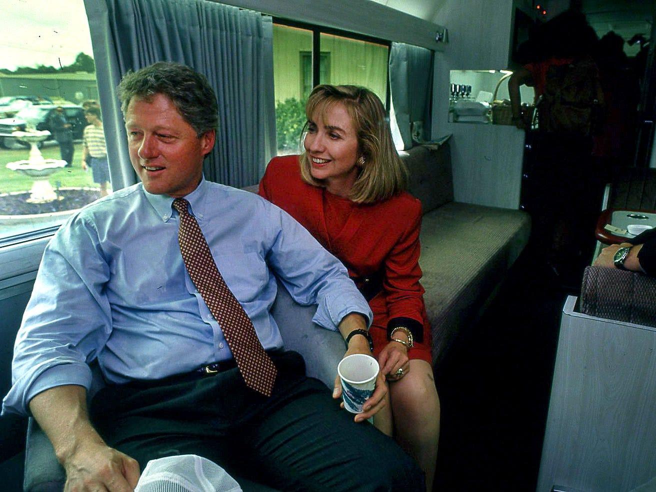 Bill Clinton, and Hillary, during a campaign bus trip through South Georgia near Valdosta Sept. 24, 1992.