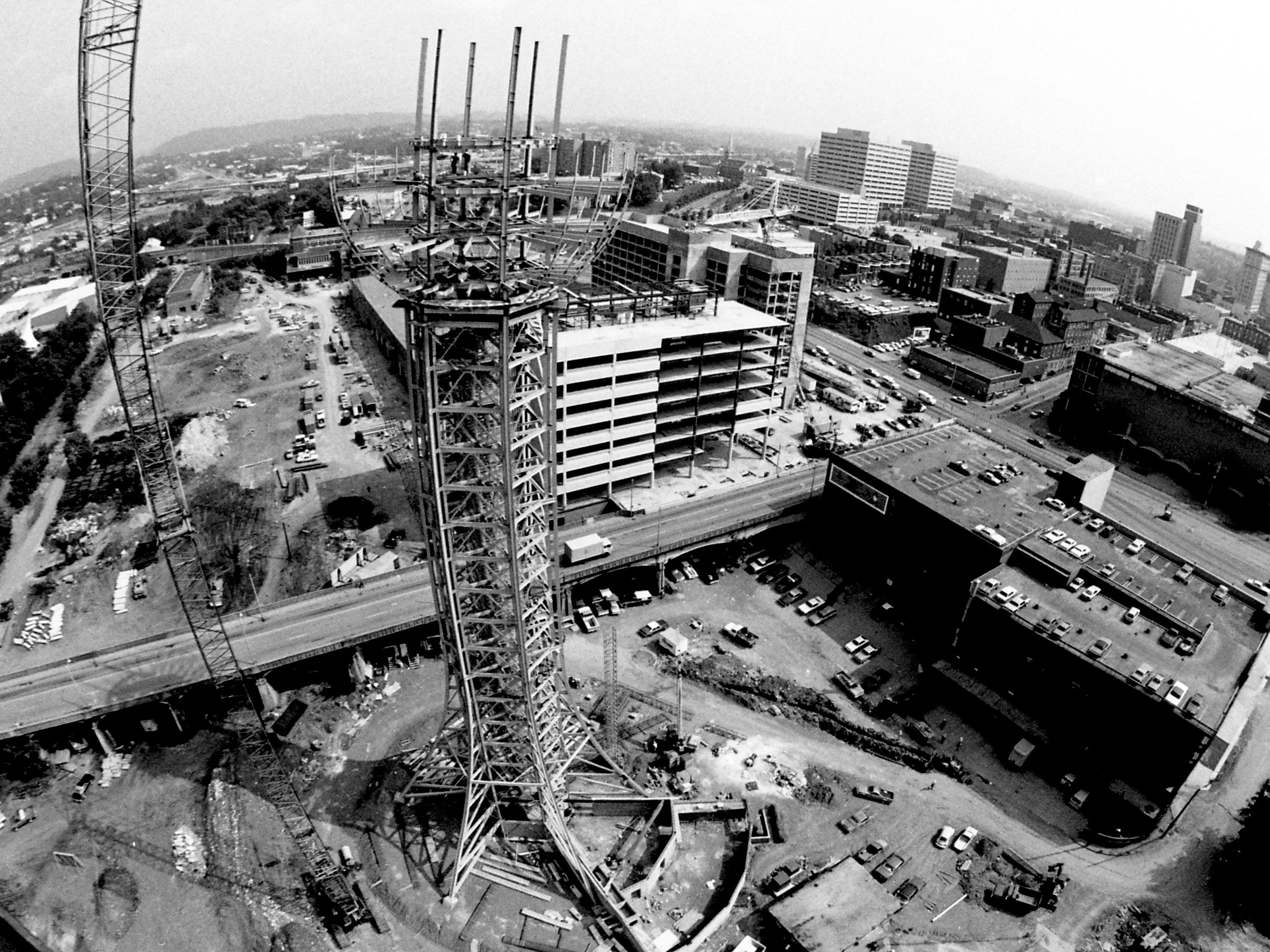 The Sunsphere under construction in 1981. Michael Patrick shot this photo while suspended from a crane 260 feet above ground.