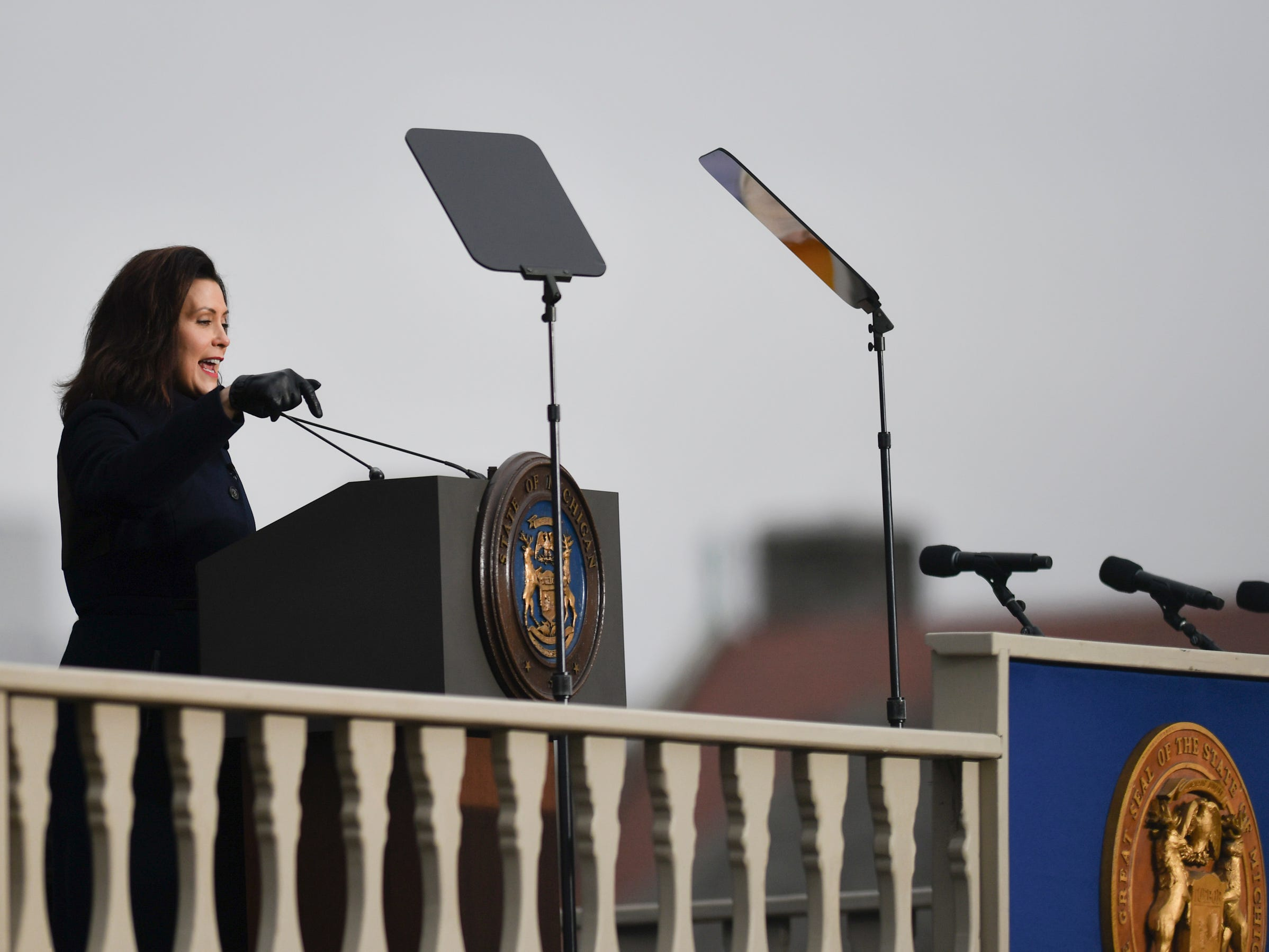 Michigan Governor Gretchen Whitmer speaks Tuesday, Jan. 1, 2019, after being sworn-in as Michigan's 49th governor on the steps of the State Capitol in Lansing, Michigan.  [AP Photo/Matthew Dae Smith/Lansing State Journal]