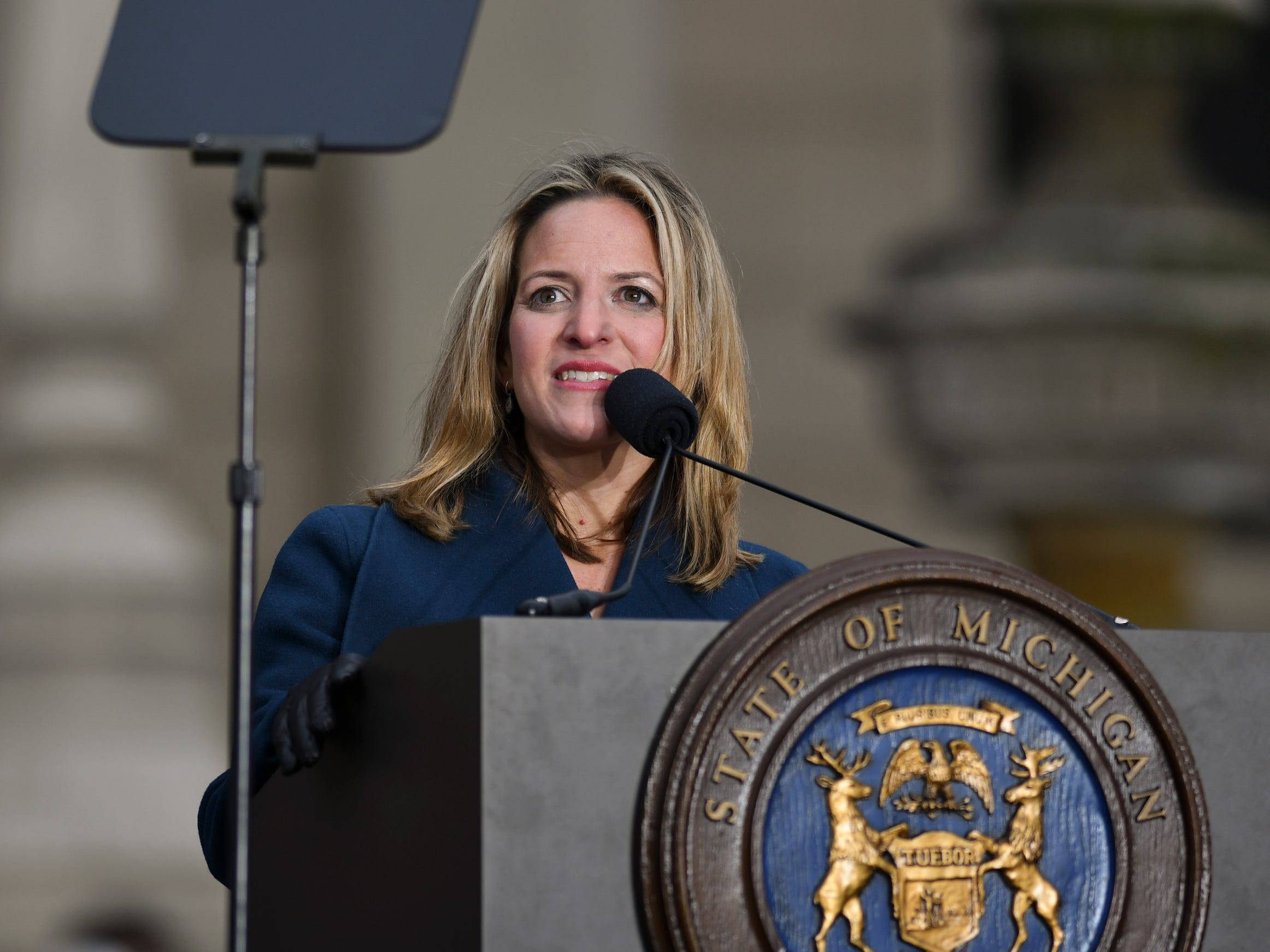 Michigan Secretary of State Jocelyn Benson speaks after being sworn-in during the 2019 inauguration at the State Capitol.