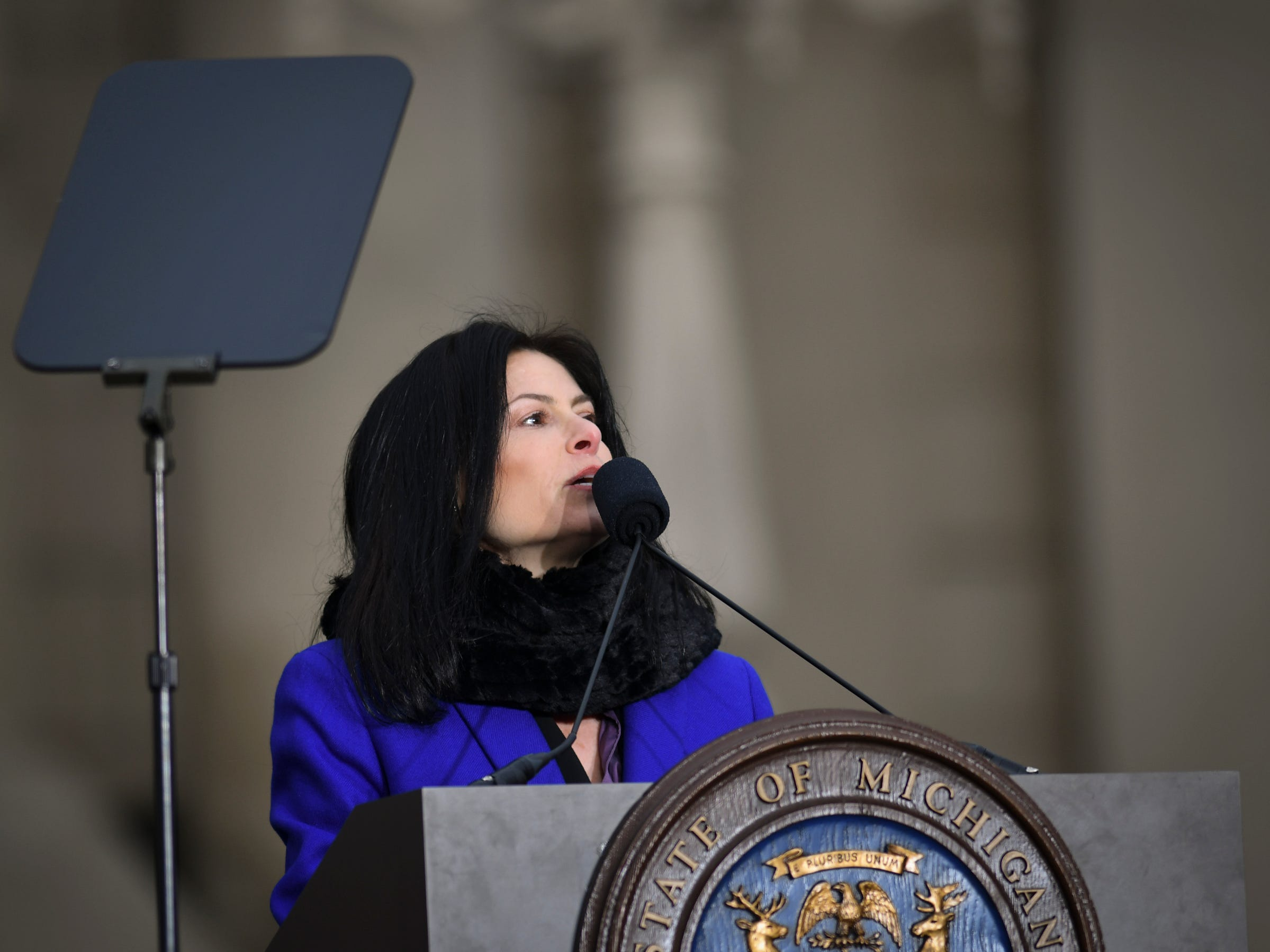 Michigan Attorney General Dana Nessel speaks Monday, Jan. 1, 2019, after being sworn-in on inauguration day at the State Capitol.