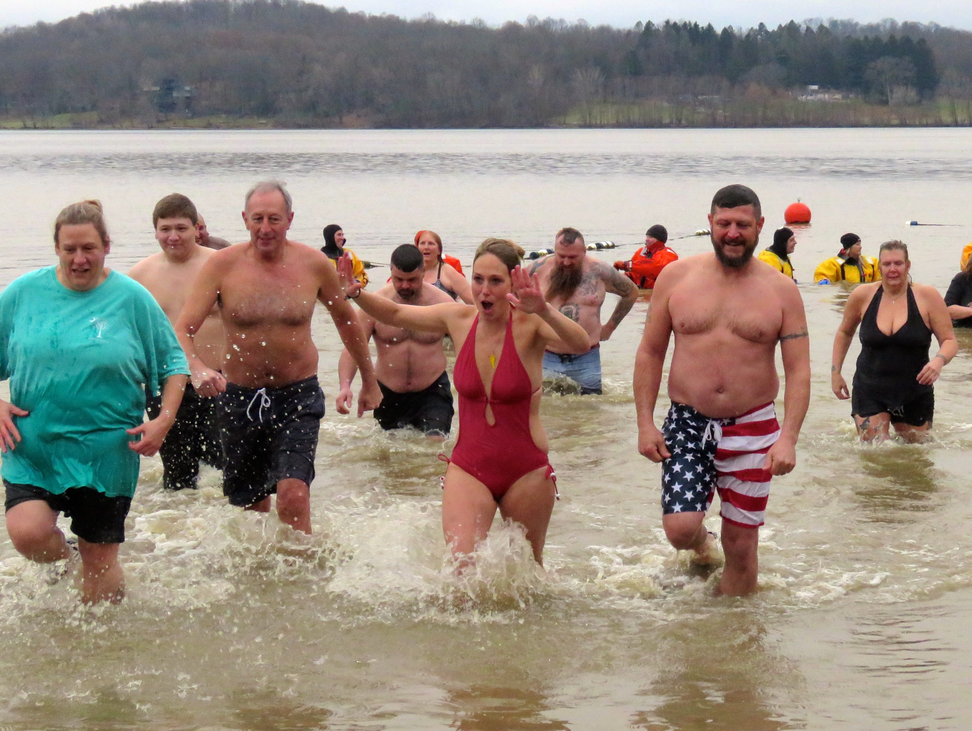 The Polar Bear Dip at Charles Mill Lake on new Year's Day was refreshiingly cold.