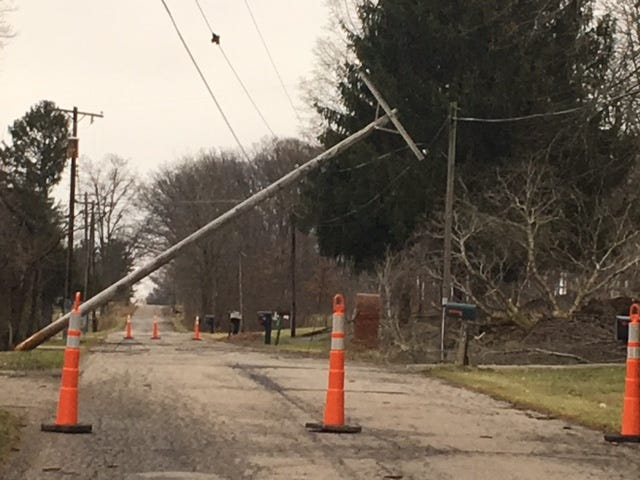 A power pole is down on Crall Road East in Mansfield on New Year's Day.