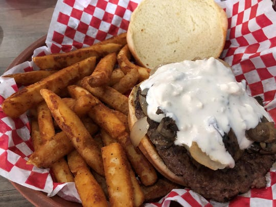 """""""Island Bleus"""" burger from Marco Island Brewery."""