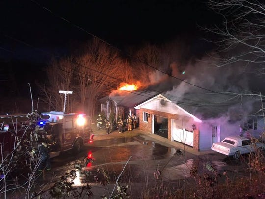 Firefighters respond to a blaze at a Mount Olive home Jan. 1, 2019.