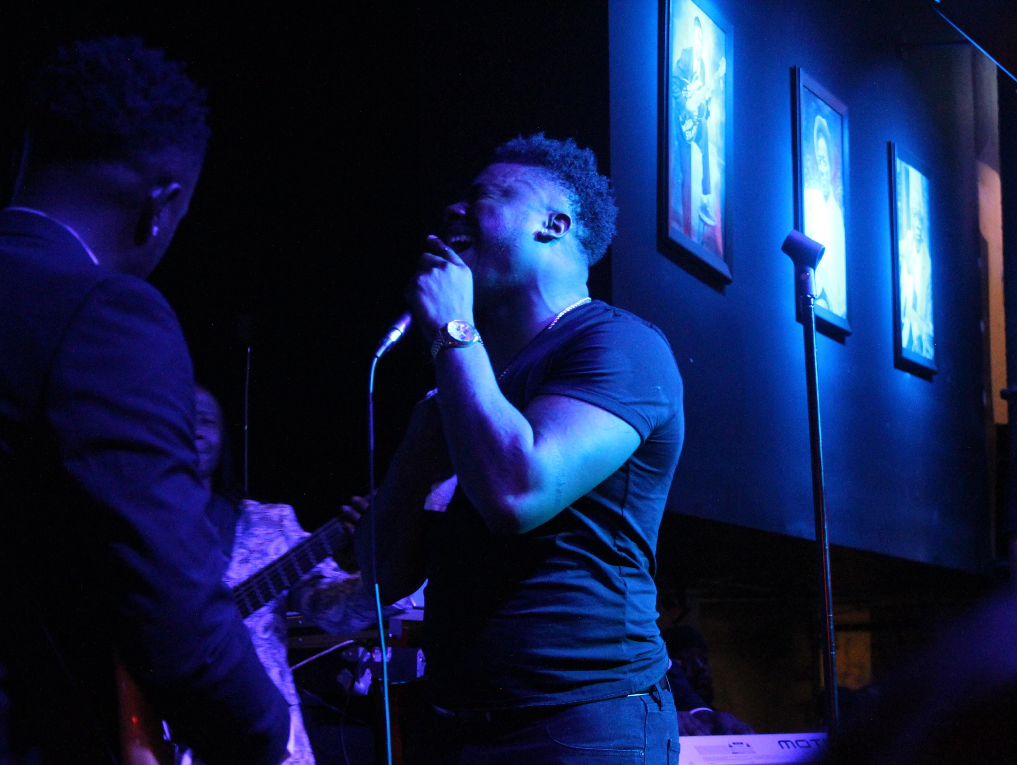 """""""The Voice"""" top 3 finalist Kirk Jay, a Montgomery resident and Bay Minette native, sings with his band Kuntry Funk in a New Year's Eve concert Monday, Dec. 31, 2018, at B.B. King's Blues Club in Montgomery."""