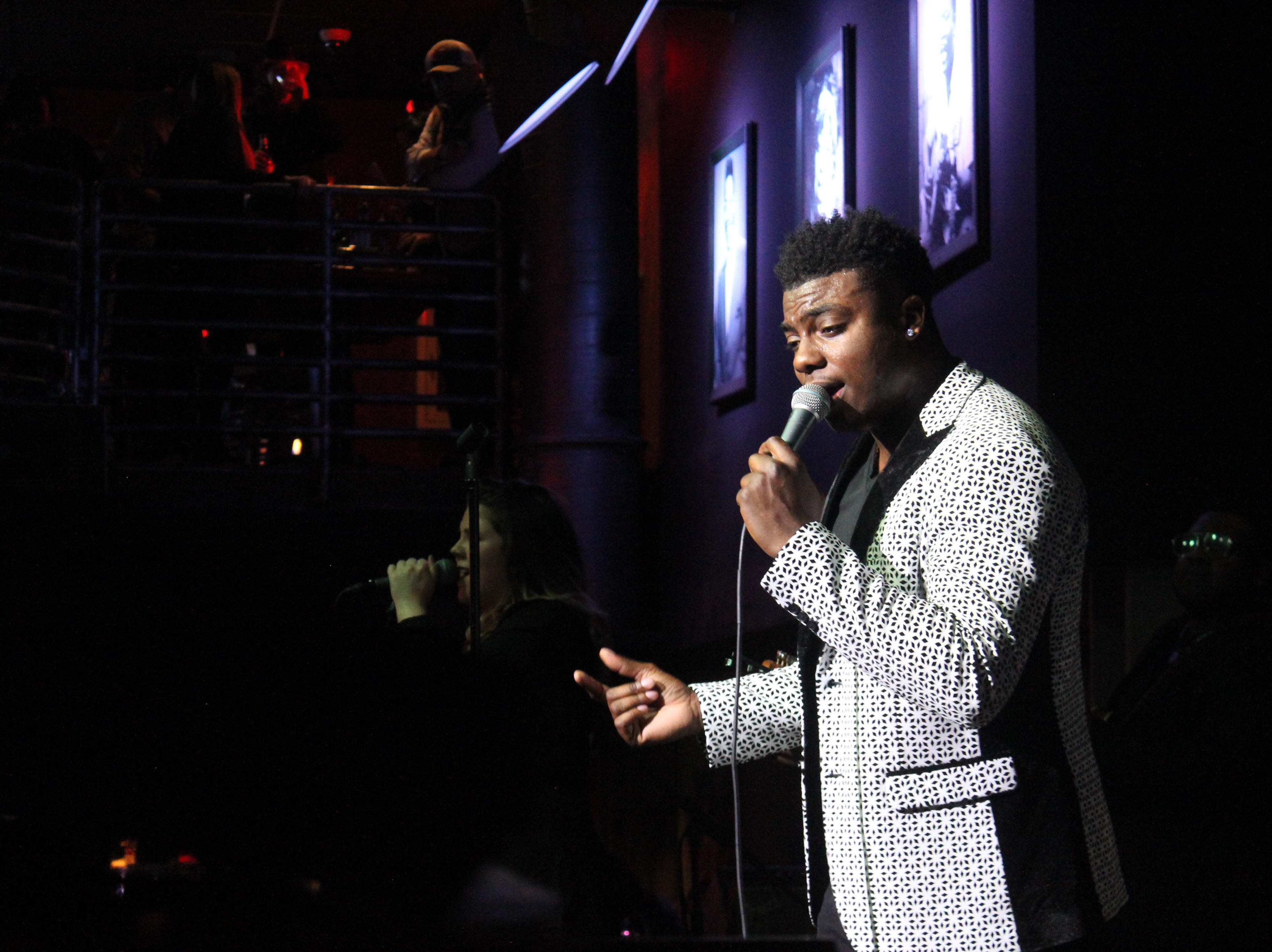 """""""The Voice"""" top 3 finalist Kirk Jay, a Montgomery resident and Bay Minette native, sings in a New Year's Eve concert Monday, Dec. 31, 2018, at B.B. King's Blues Club in Montgomery."""