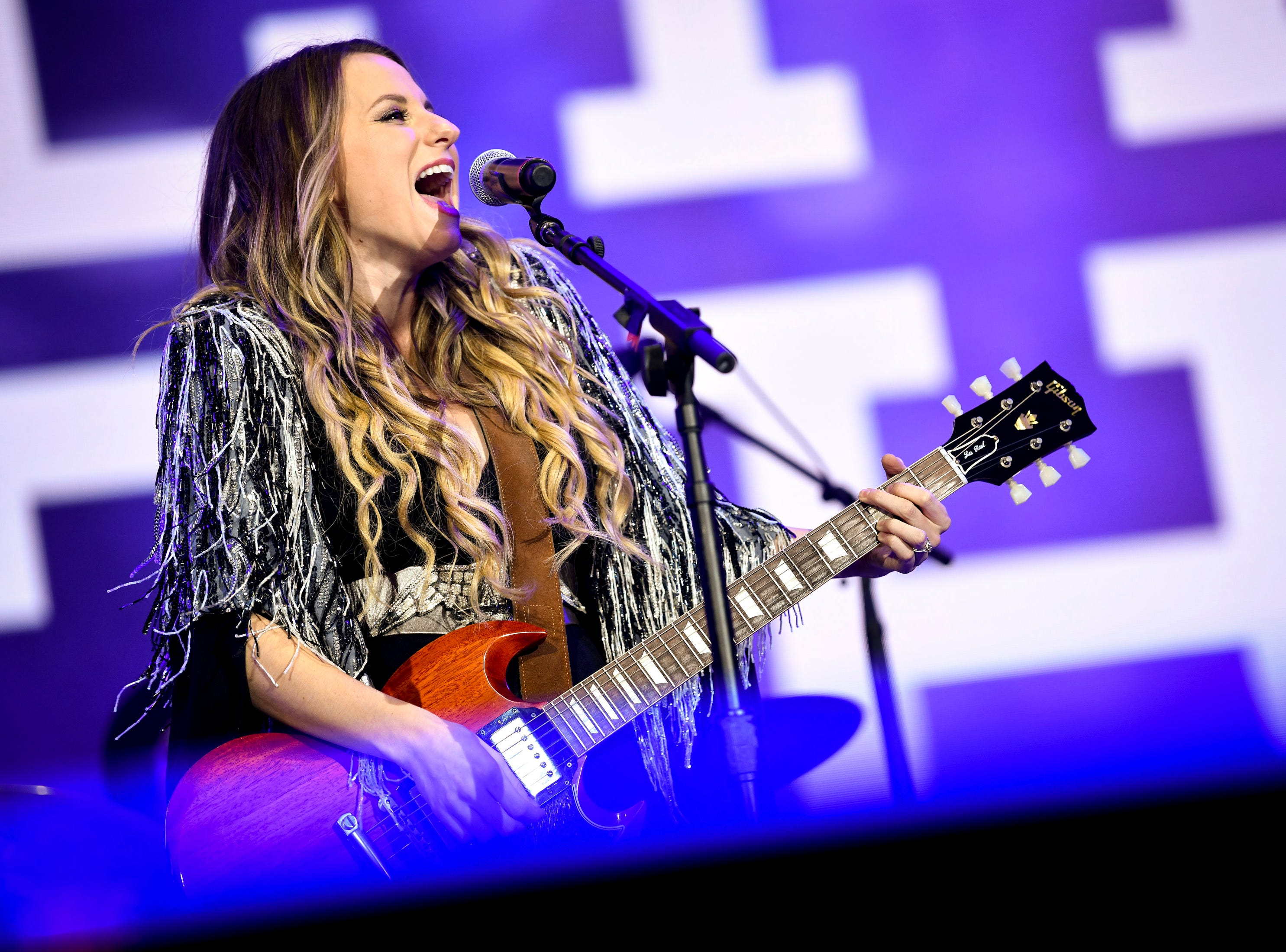 Caitlyn Smith performs during the Jack Daniel's Music City Midnight: New Year's Eve event at Bicentennial Capitol Mall State Park in Nashville, Tenn., Monday, Dec. 31, 2018.