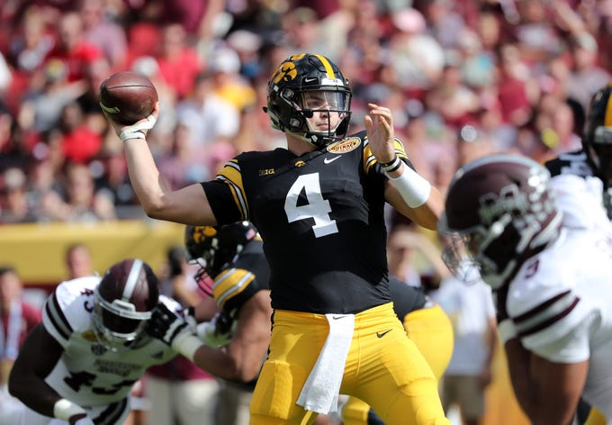 Jan 1, 2019; Tampa, FL, USA; Iowa Hawkeyes quarterback Nate Stanley (4) throws the ball against the Mississippi State Bulldogs during the second quarter in the 2019 Outback Bowl at Raymond James Stadium.