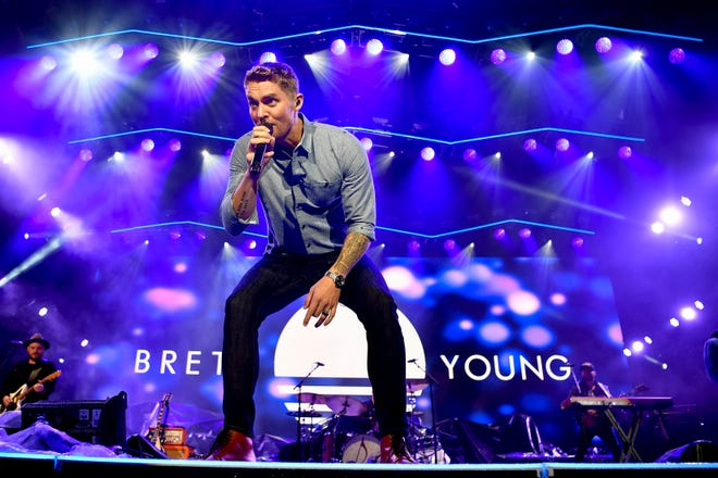 Brett Young performs during the Jack Daniel's Music City Midnight: New Year's Eve event at Bicentennial Capitol Mall State Park in Nashville on Dec. 31.