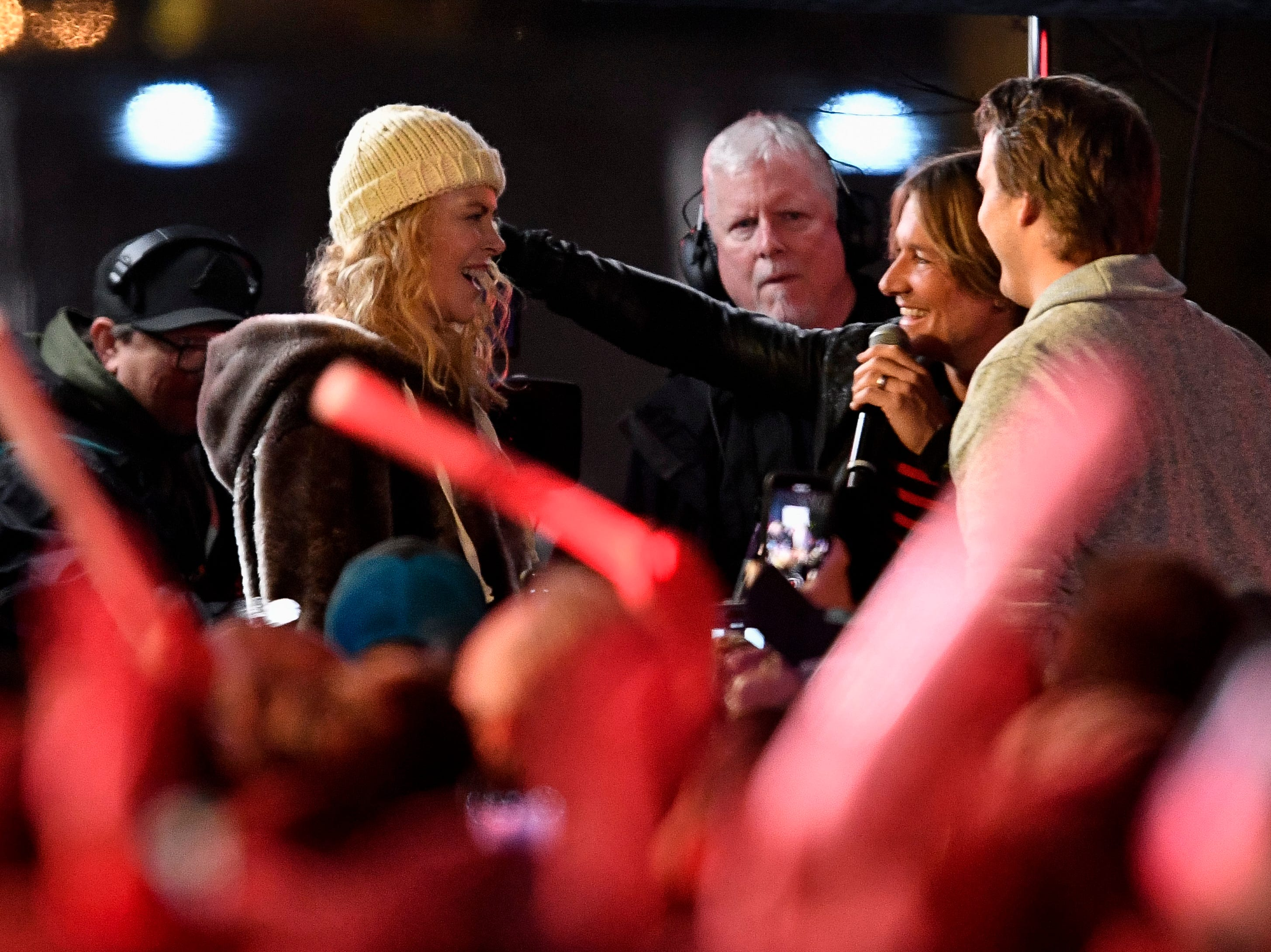 Nicole Kidman and Keith Urban greets fans during the Jack Daniel's Music City Midnight: New Year's Eve event at Bicentennial Capitol Mall State Park in Nashville, Tenn., Monday, Dec. 31, 2018.