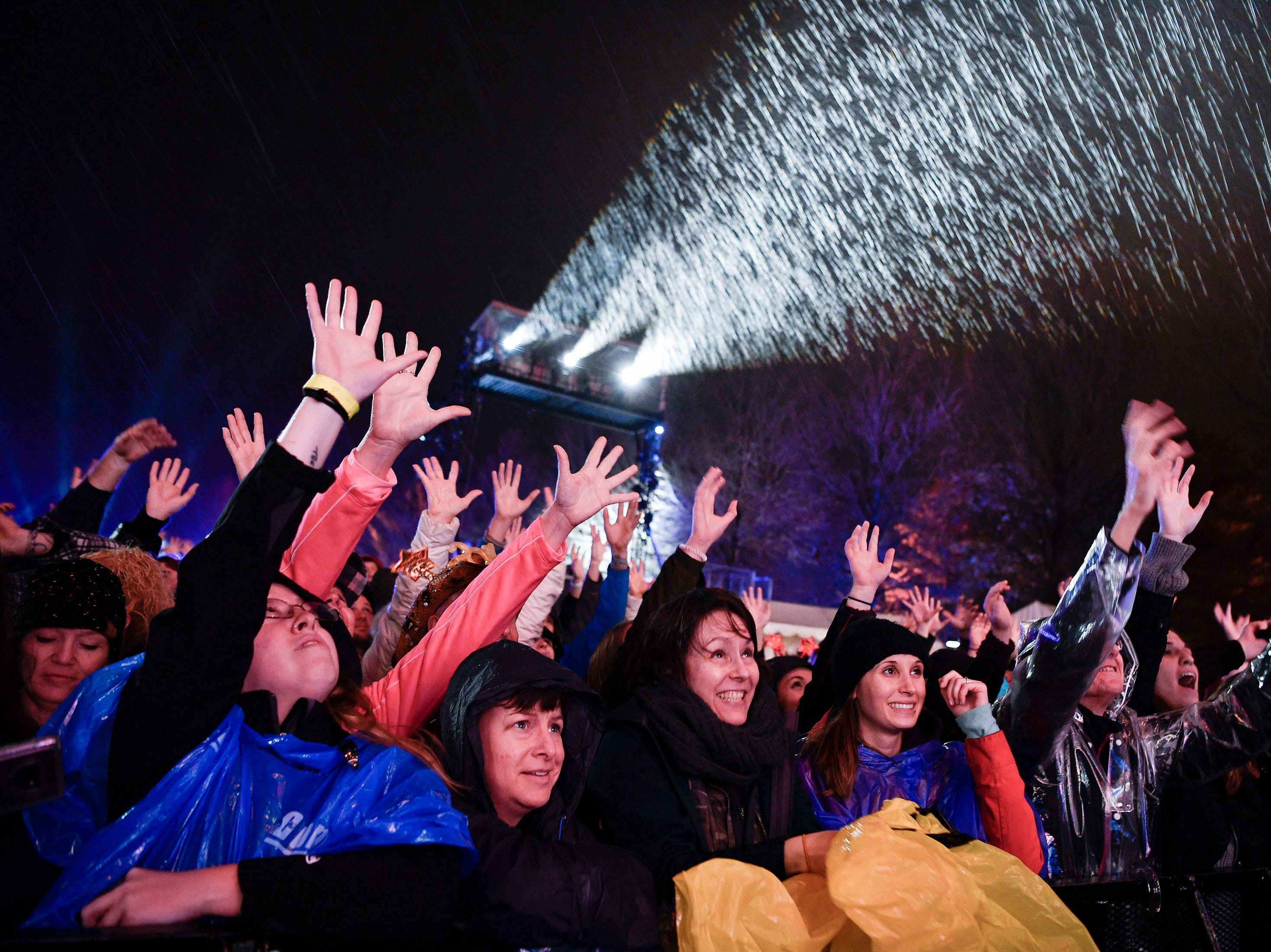 Fans cheer as Storme Warren greets the crowd during the Jack Daniel's Music City Midnight: New Year's Eve event at Bicentennial Capitol Mall State Park in Nashville, Tenn., Monday, Dec. 31, 2018.