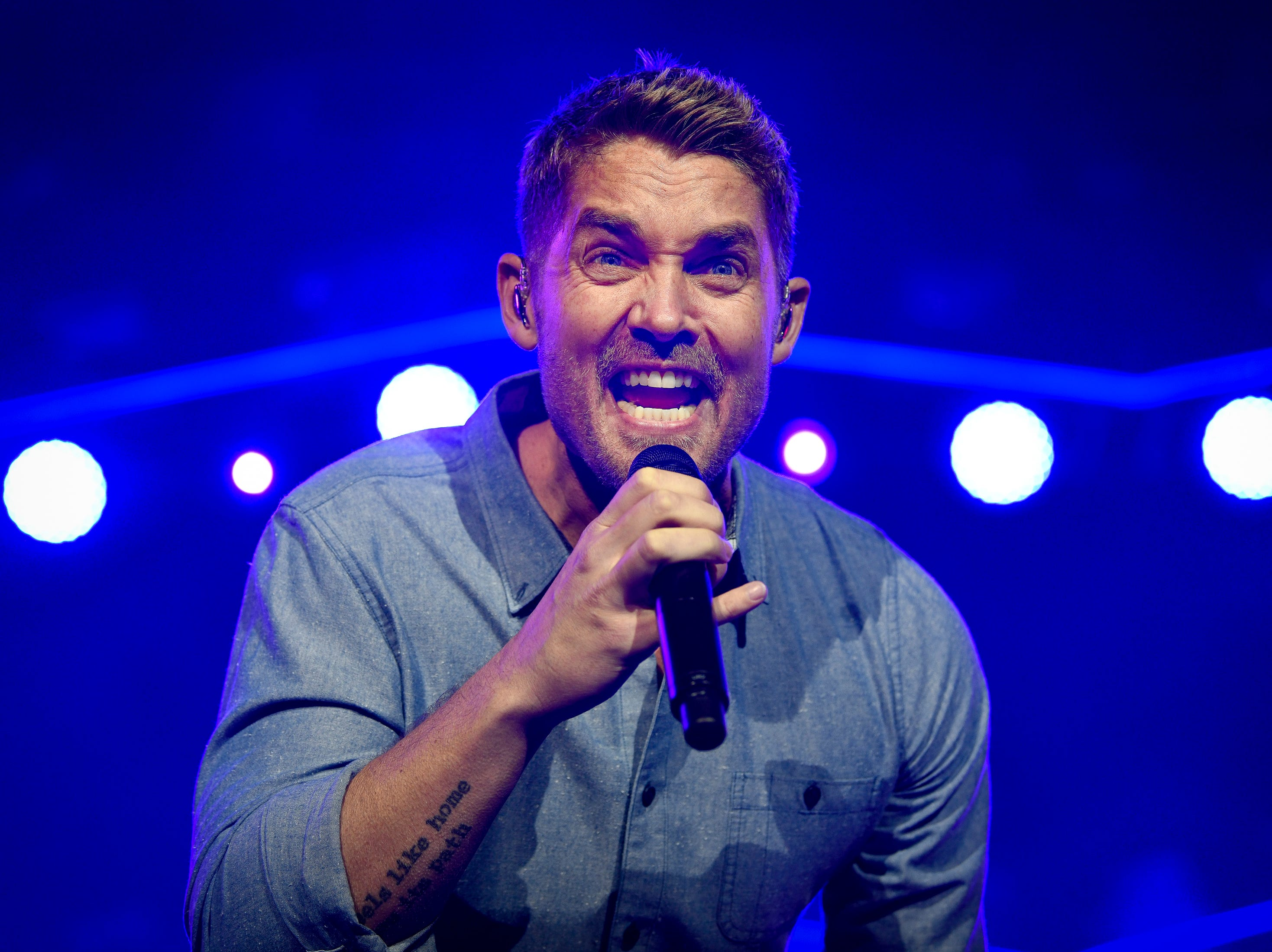 Brett Young performs during the Jack Daniel's Music City Midnight: New Year's Eve event at Bicentennial Capitol Mall State Park in Nashville, Tenn., Monday, Dec. 31, 2018.