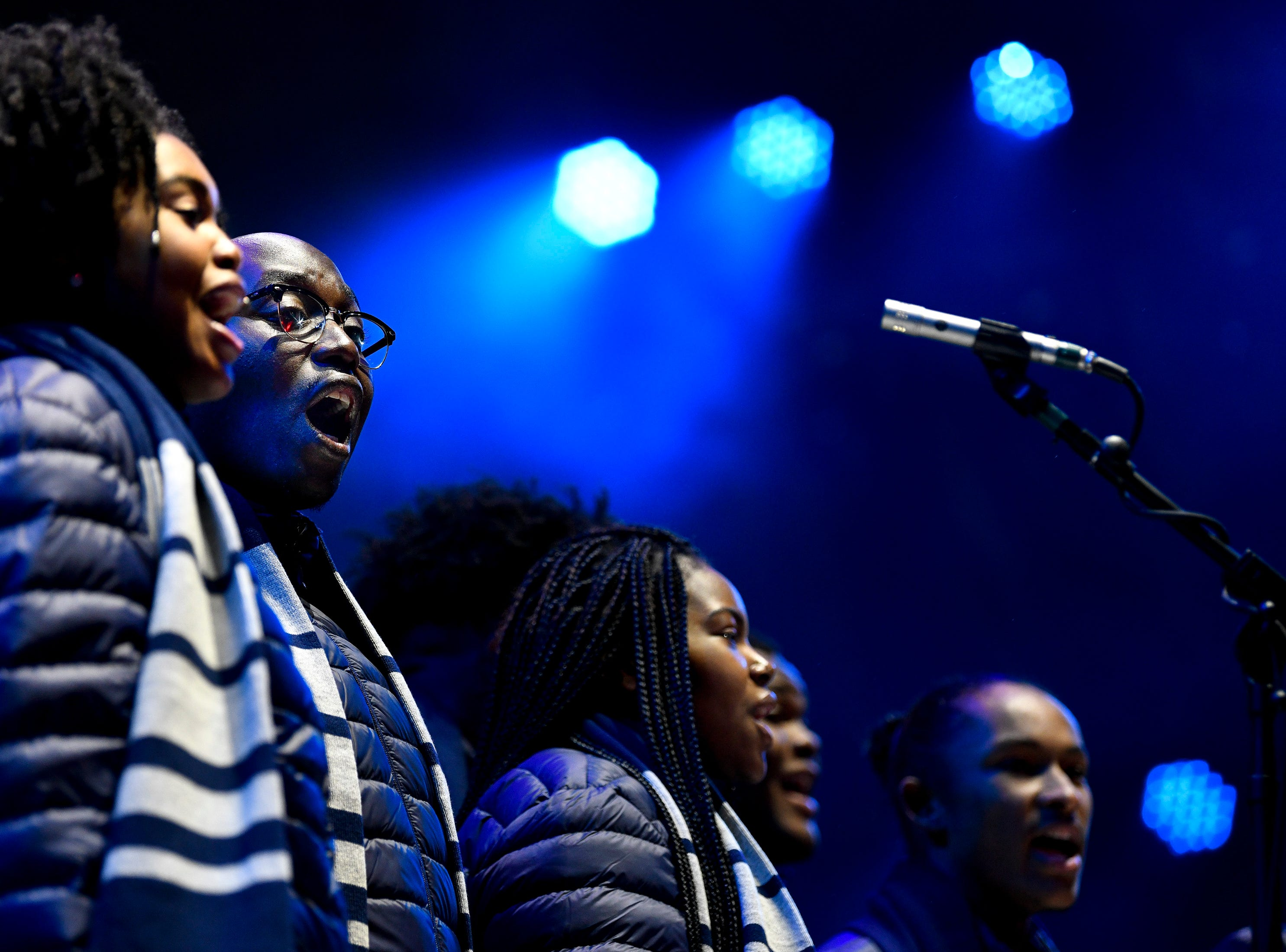 The Fisk Jubilee Singers perform during the Jack Daniel's Music City Midnight: New Year's Eve event at Bicentennial Capitol Mall State Park in Nashville, Tenn., Monday, Dec. 31, 2018.