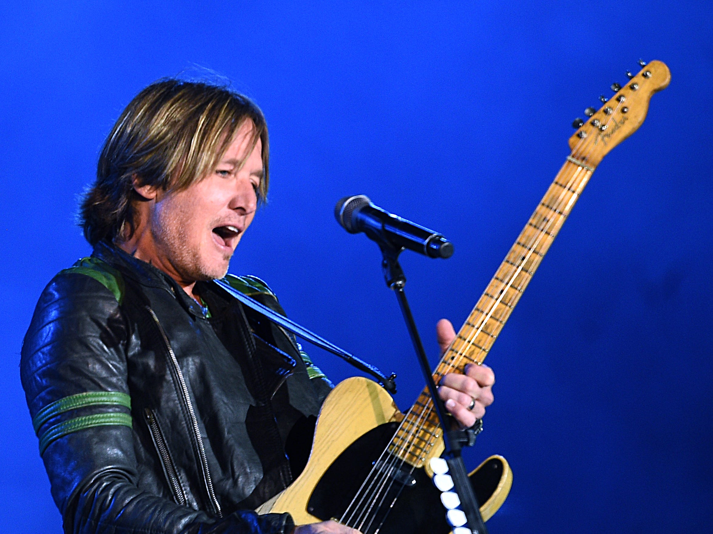 Keith Urban performs during Jack Daniel's Music City Midnight: New Year's Eve at  Bicentennial Capitol Mall State Park in  Nashville on Monday, Dec. 31, 2018.