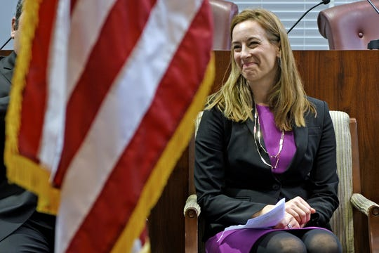 Congresswoman-elect Mikie Sherrill (NJ-11th district) attended the Little Falls swearing in ceremony for Councilmen Chris Vancheri, Albert Kahwaty and Councilwoman Tanya Seber at the Little Falls Municipal Building on January 1, 2019.