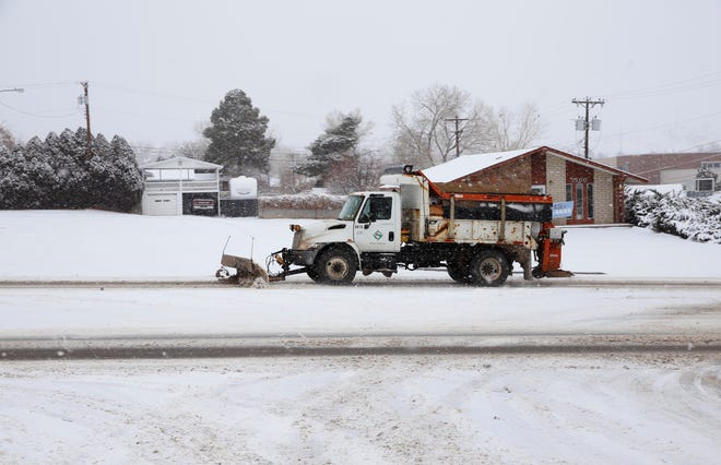 Snowplows managed by the city of Farmington's streets department continue operating Tuesday as winter weather remained in the Four Corners.