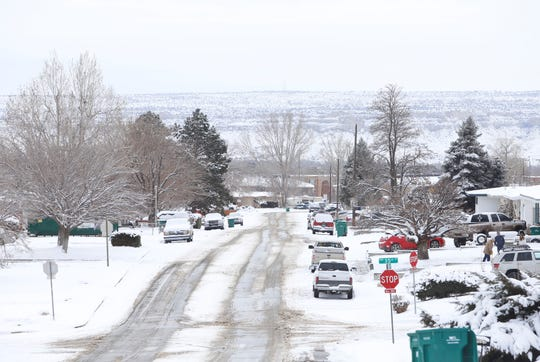 Farmington and the surrounding area received more snow on Tuesday as a winter storm proceeds through New Mexico.