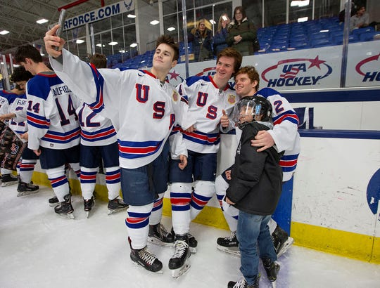 Following Tuesday's win over College of Holy Cross, U.S. NTDP Under-18 players take selfies with young fans. The matinee game was followed by a free Skate with the Team event.
