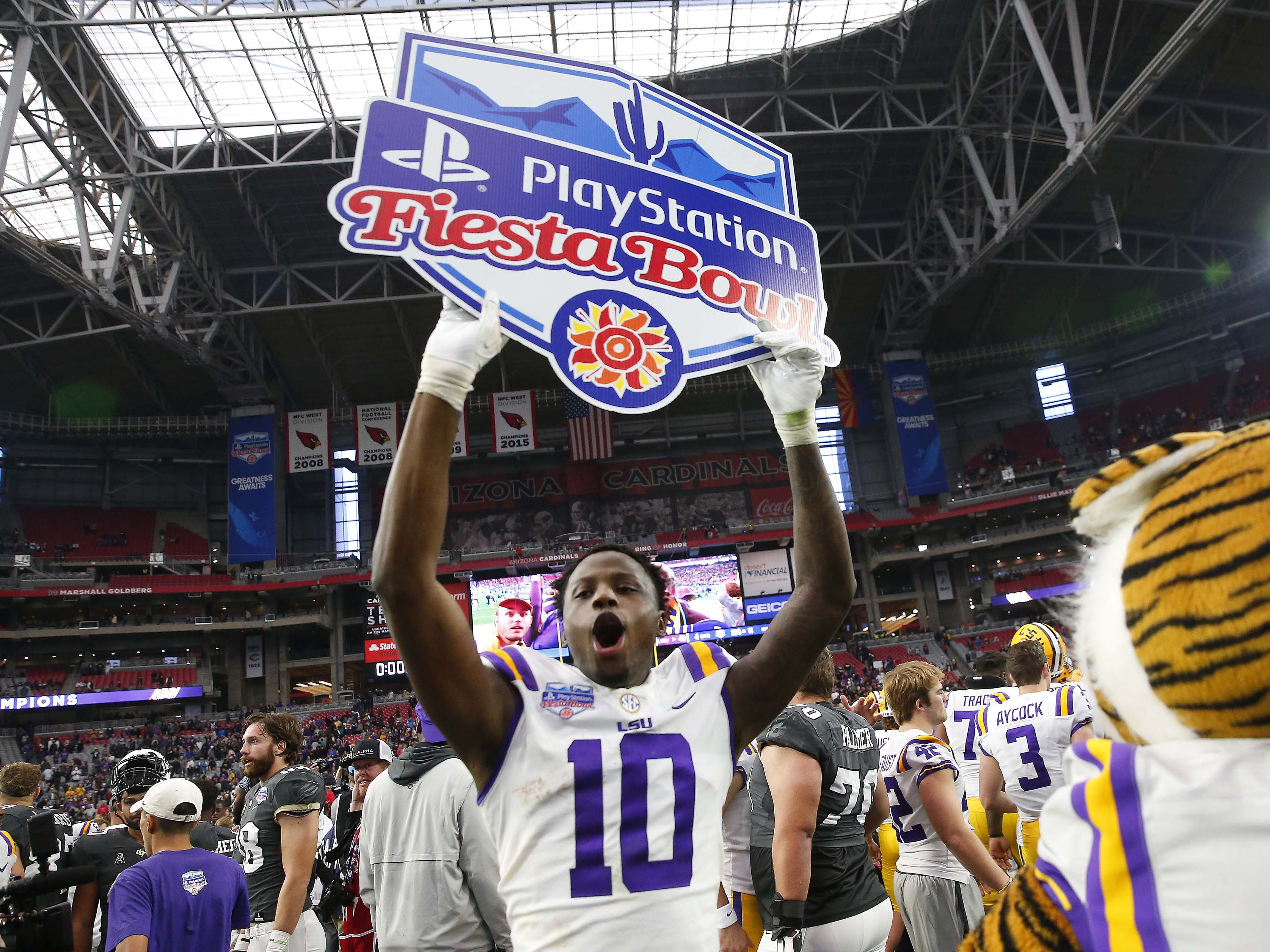 LSU wide receiver Stephen Sullivan (10) celebrates after winning the Fiesta Bowl against UCF in Glendale January 1, 2019. LSU won 40-32.