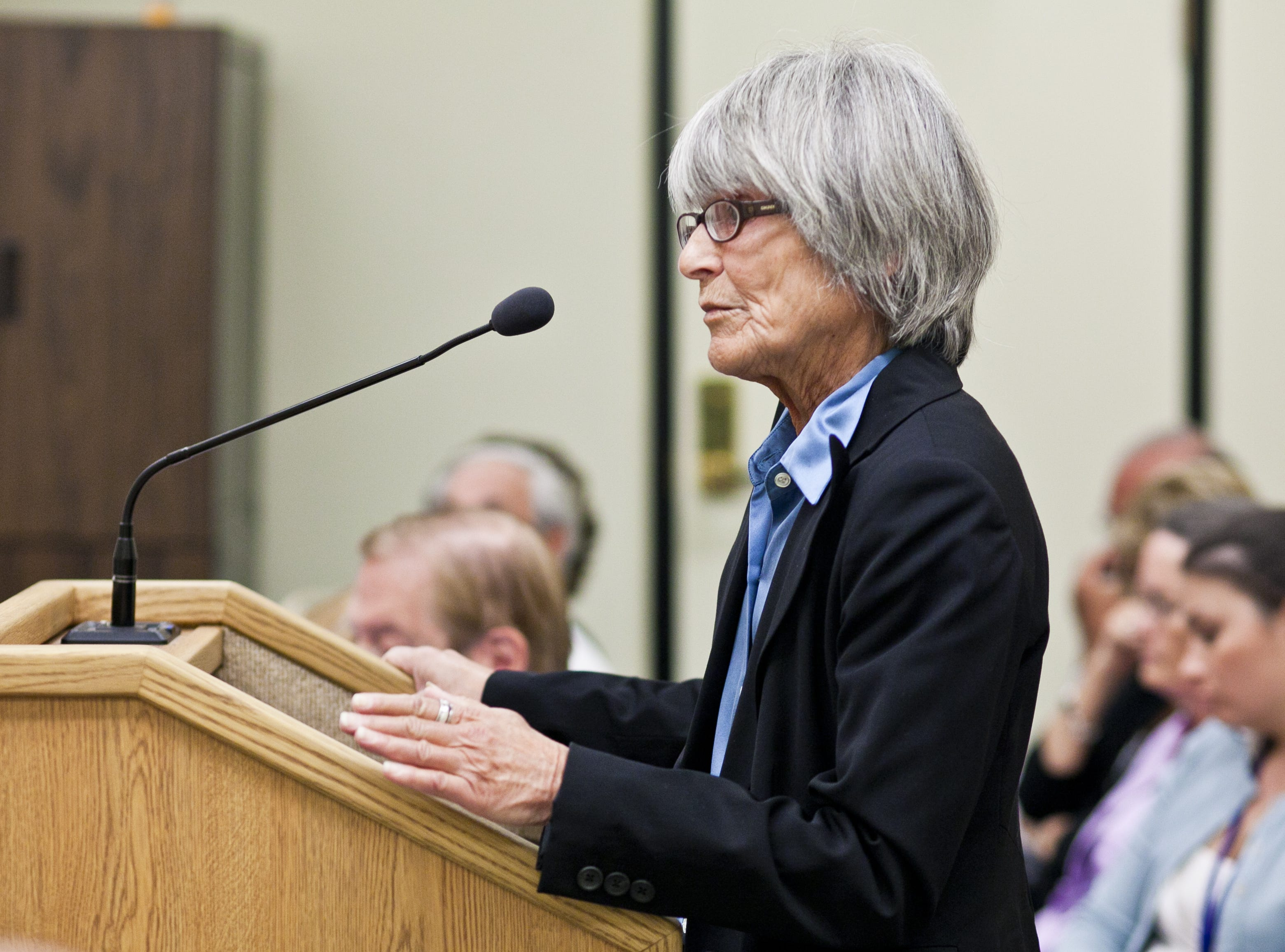 Judith Goldman, mother of Jacob Wideman, speaks on her son's behalf during his parole hearing at the Arizona Board of Executive Clemency in May 2011 in Phoenix.