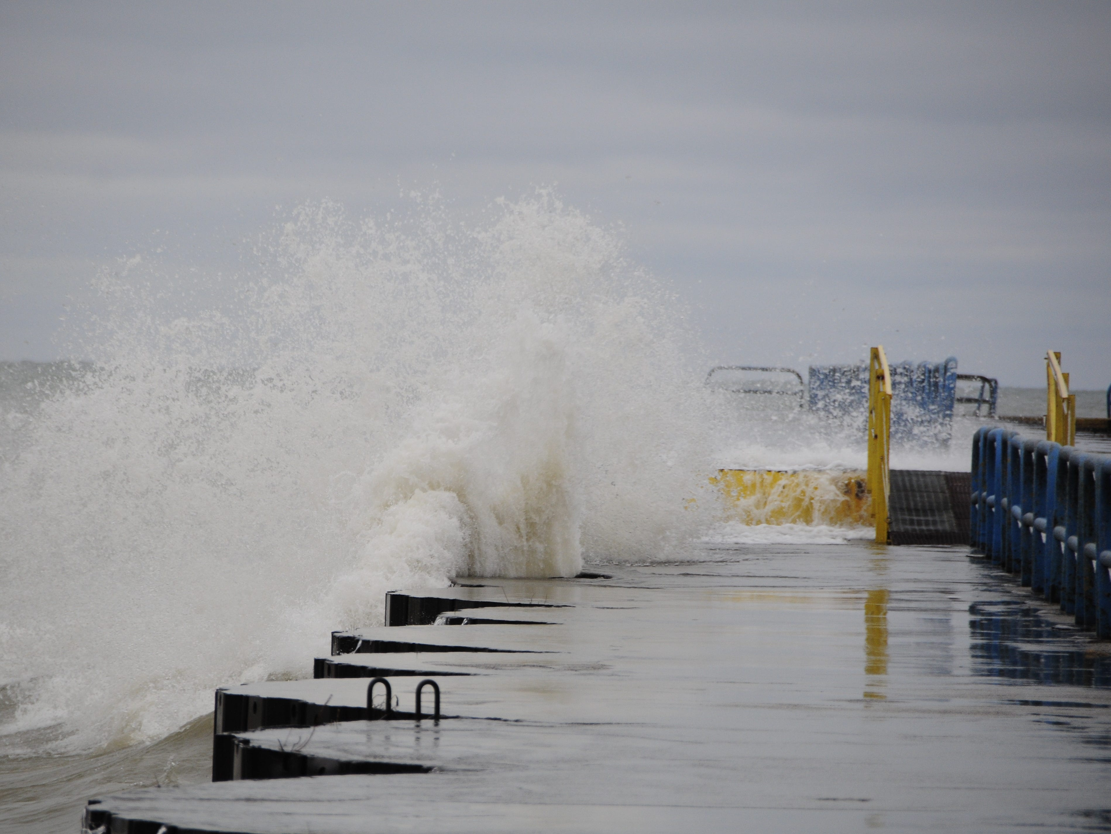 Waves smash into the north breakwall in Port Sanilac on New Year's Day 2019.