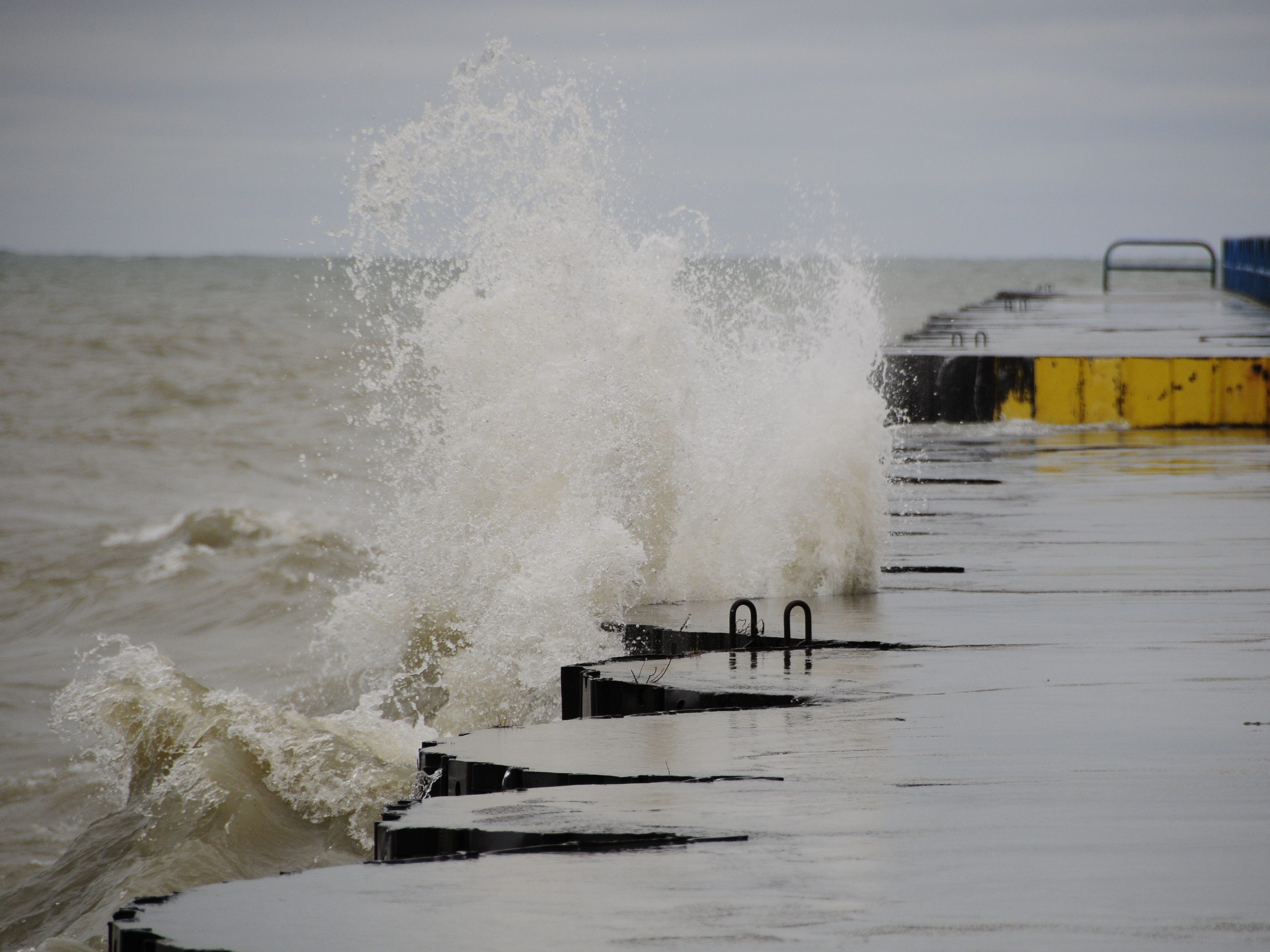 Waves slam into the north breakwall in Port Sanilac on New Year's Day 2019.