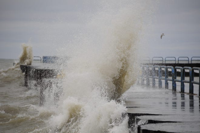 Waves lash the north breakwall in Port Sanilac on New Year's Day 2019.