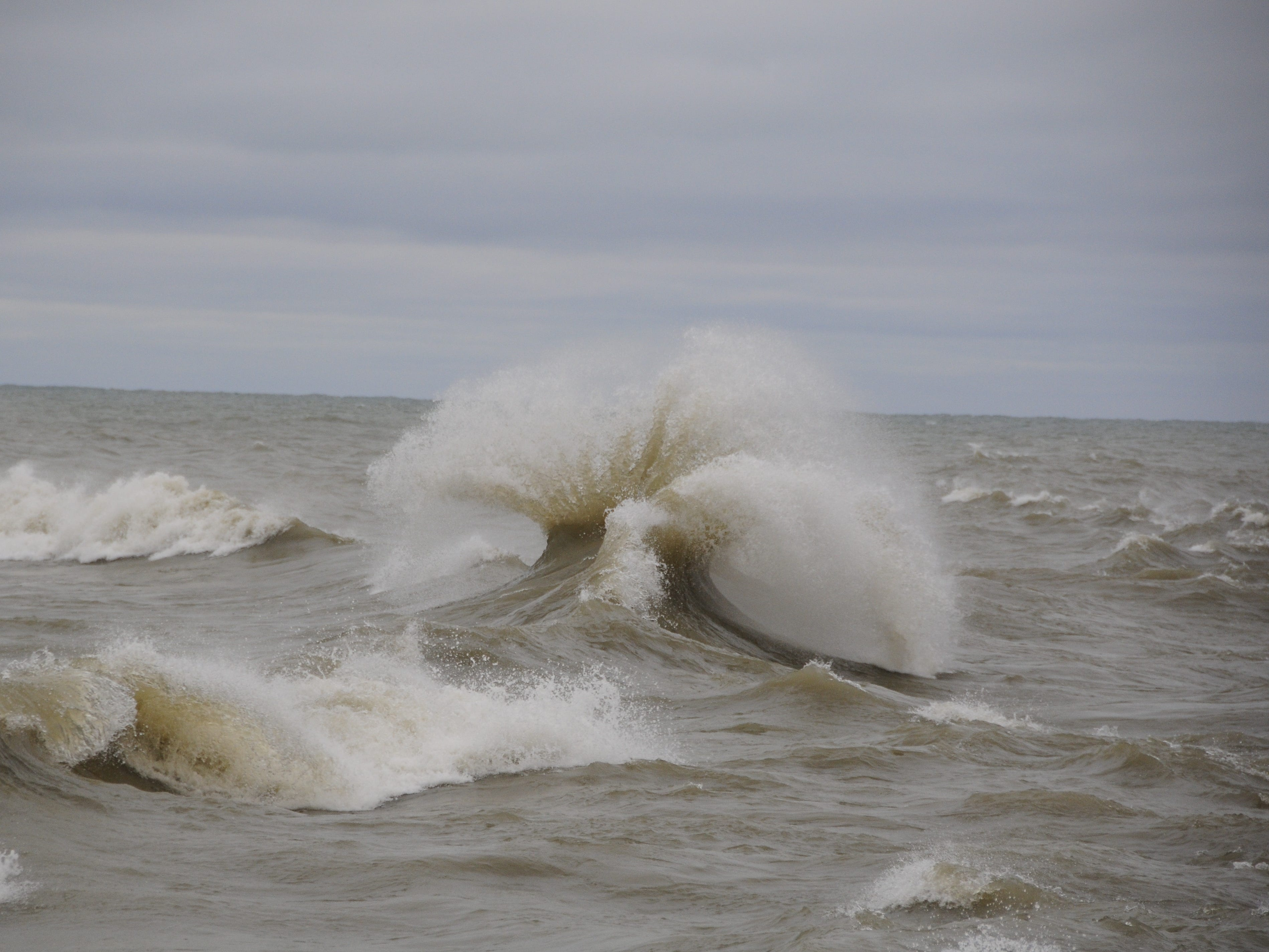 Waves leap into the sky in Port Sanilac on New Year's Day 2019.
