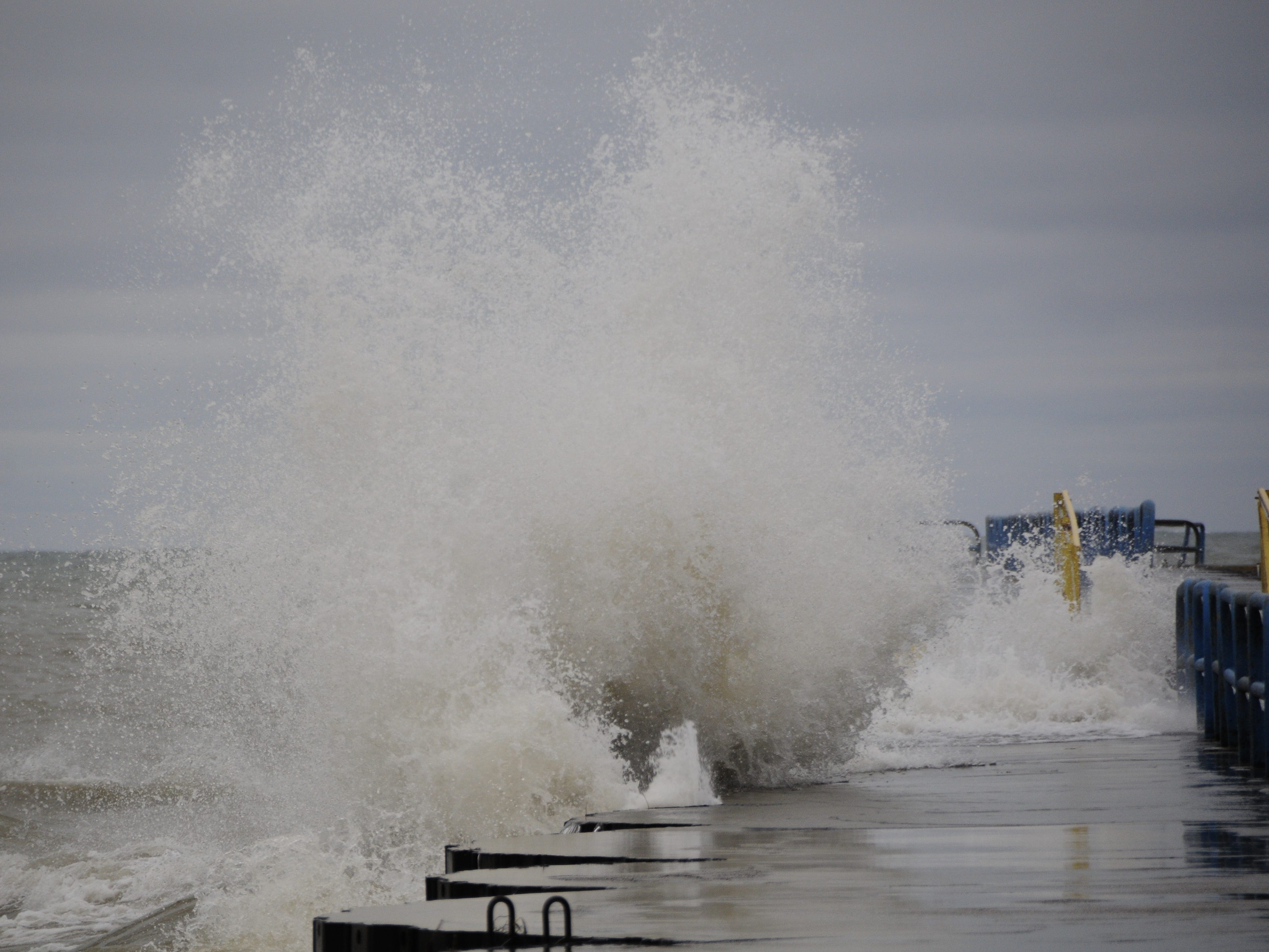Waves roll over the north breakwall in Port Sanilac on New Year's Day 2019.