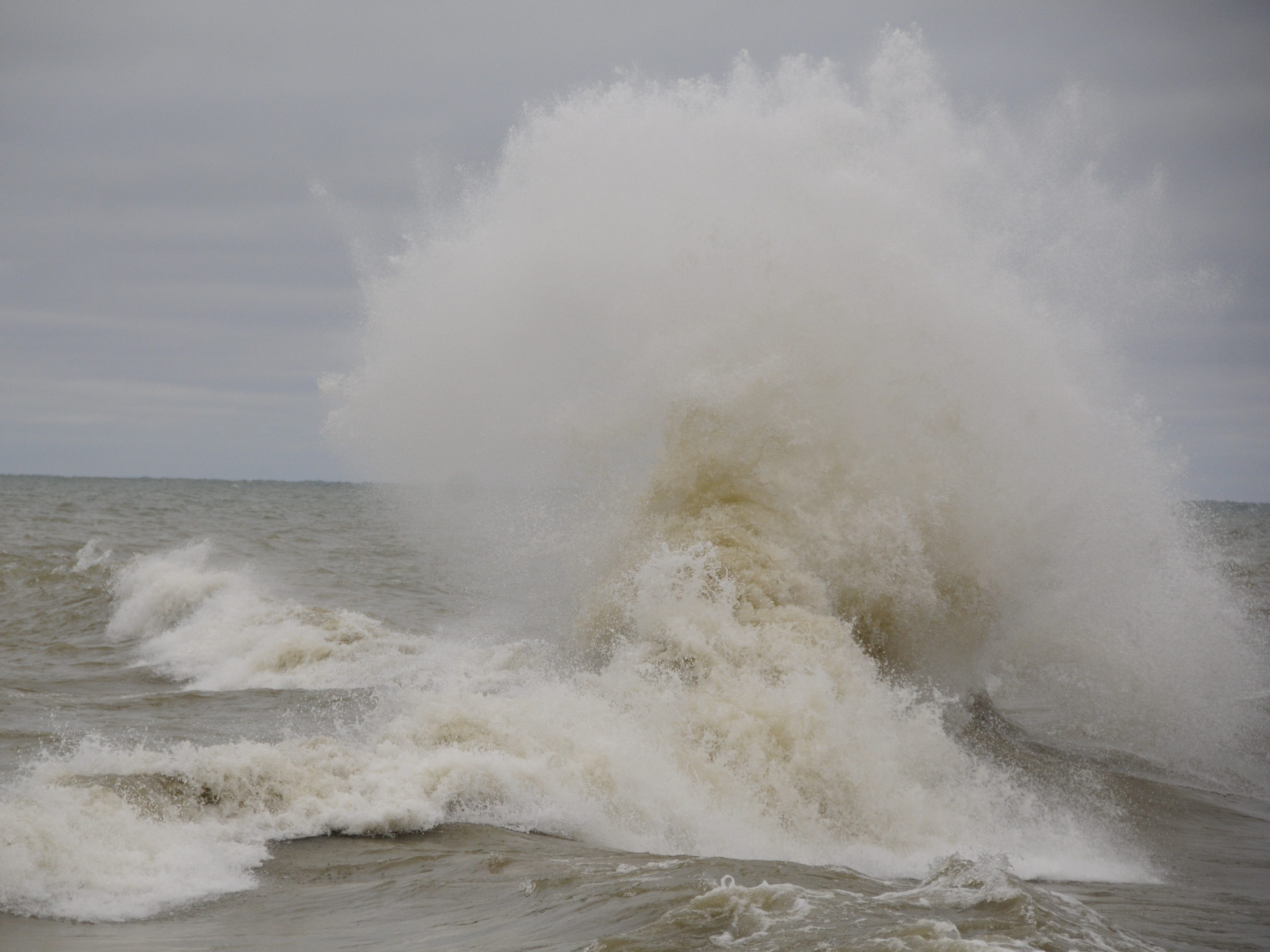 Waves slam into each other in Lake Huron near Port Sanilac on New Year's Day 2019.