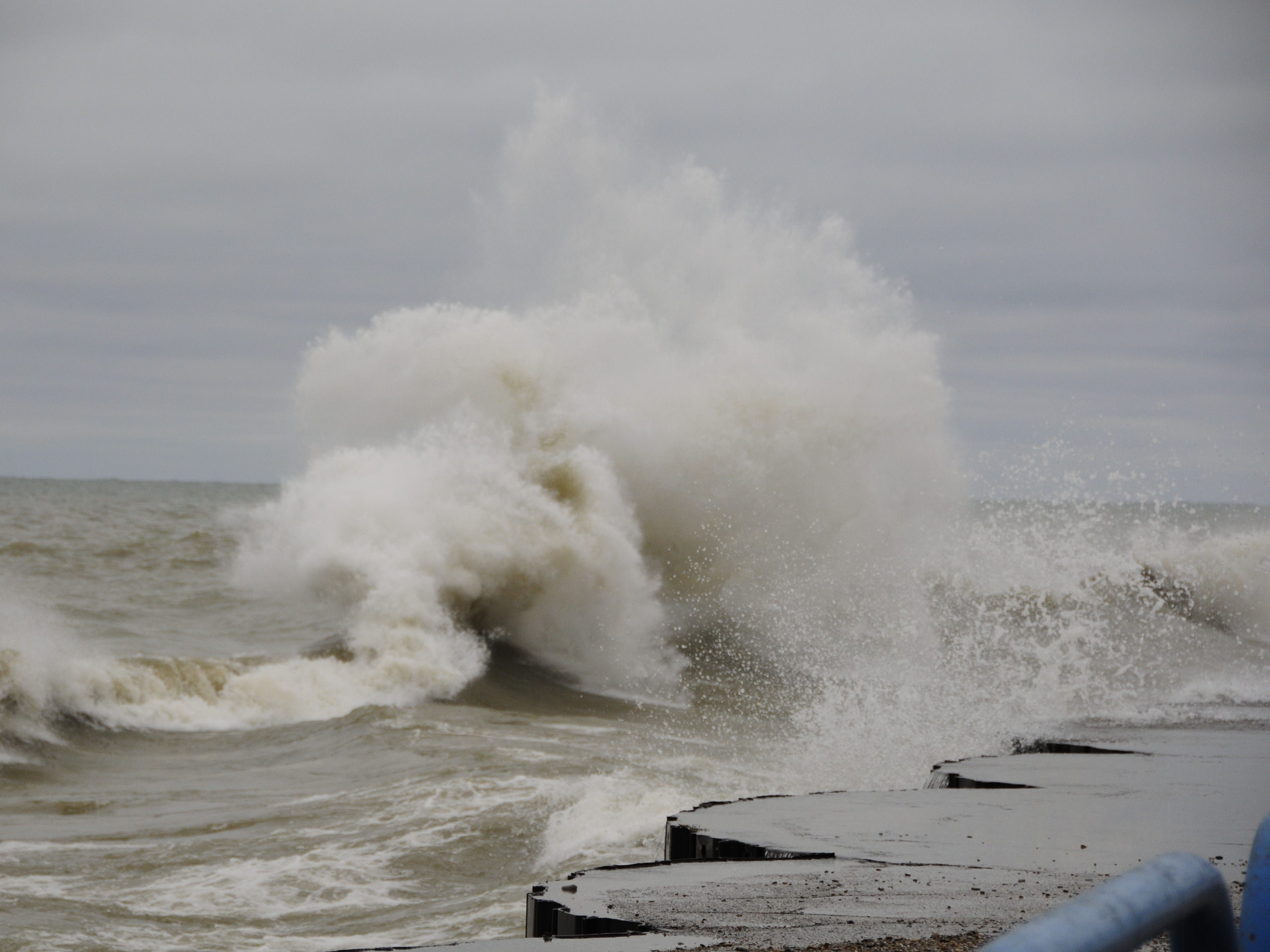 Lake Huron storms ashore in Port Sanilac on New Year's Day 2019.