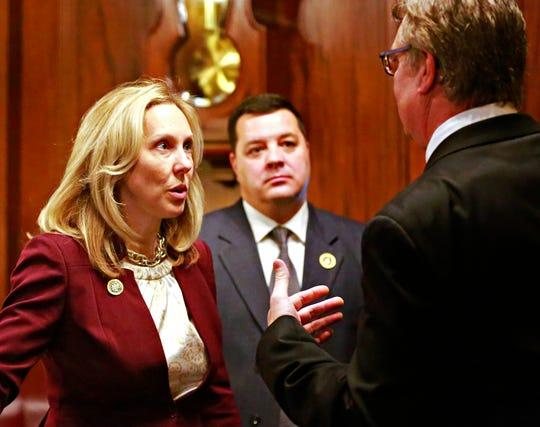 Rep. Dawn Keefer, R-92nd District, during Swearing-in Day at the state Capitol in Harrisburg, Tuesday, Jan. 1, 2019. Dawn J. Sagert photo