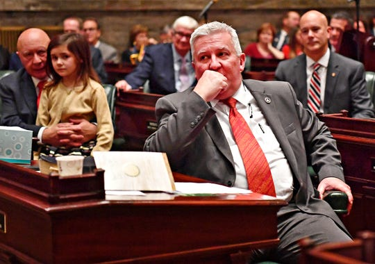 Senator Mike Folmer, R-48th District, takes  on the Senate floor during Swearing-in Day at the state Capitol in Harrisburg, Tuesday, Jan. 1, 2019. Dawn J. Sagert photo
