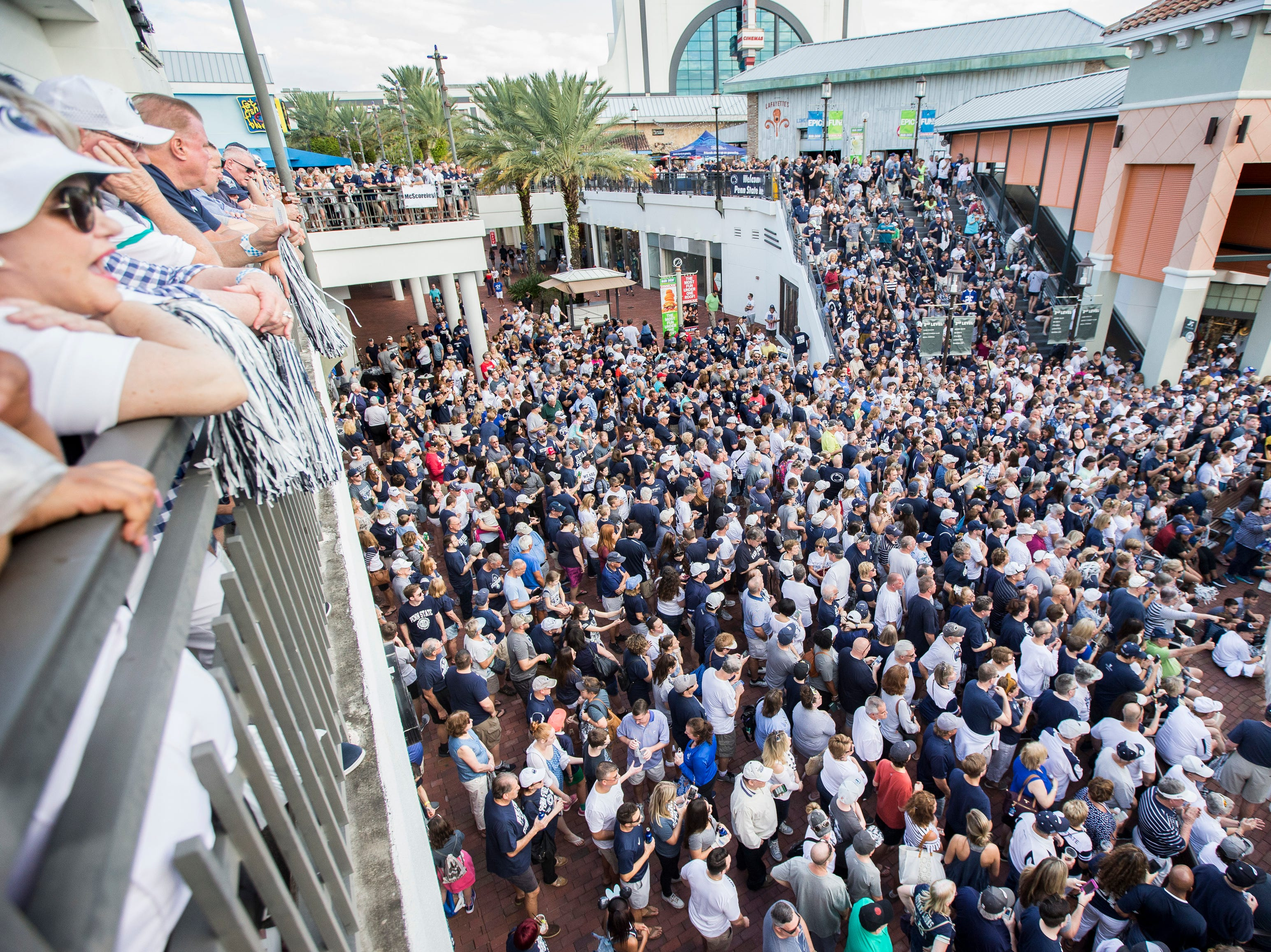 Penn State fans atttend the Citrus Bowl college football game pep rally in Orlando, Fla., Monday, Dec. 31, 2018. (Joe Hermitt/The Patriot-News via AP)