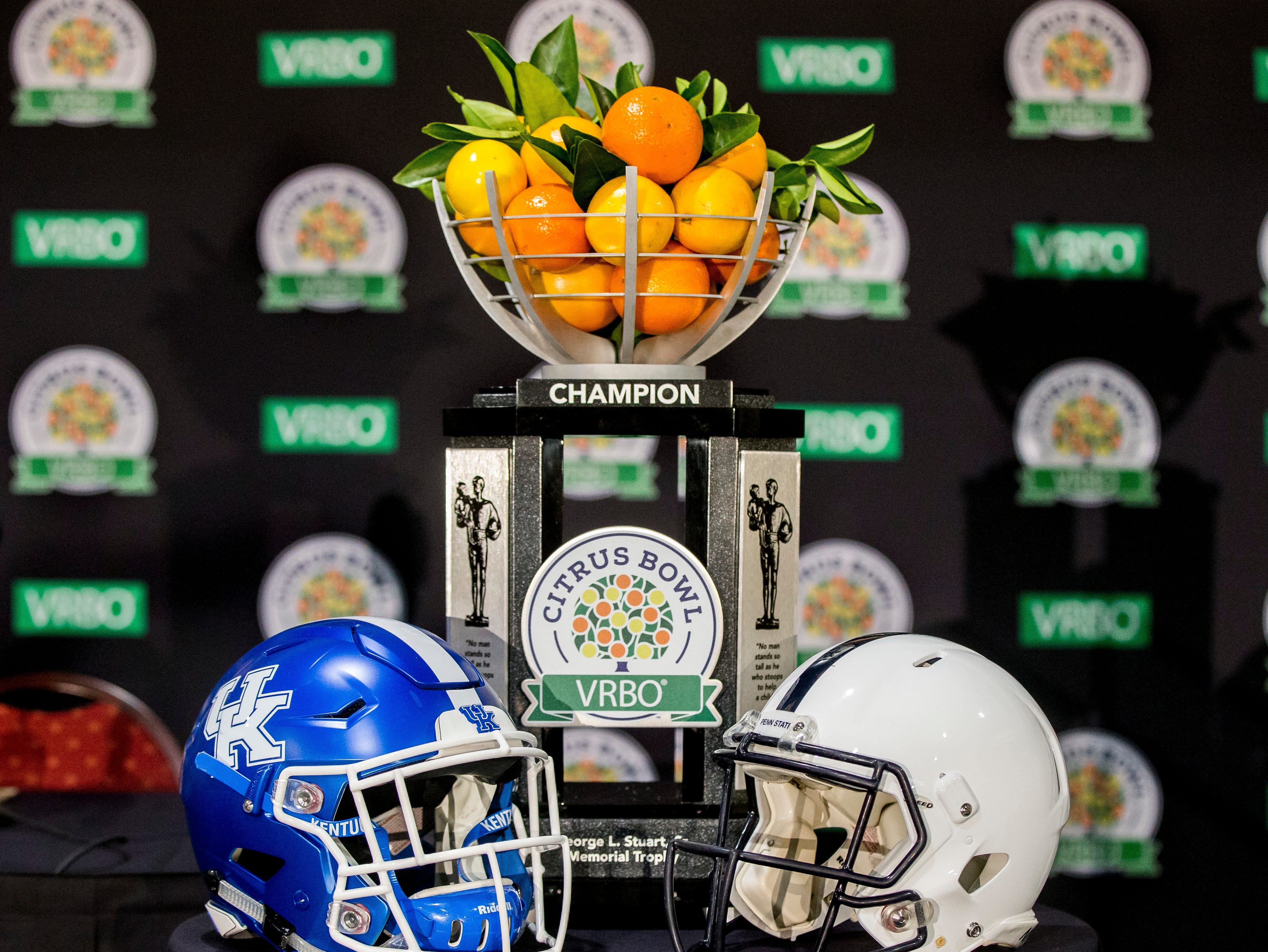 The Citrus Bowl trophy is displayed on Saturday, Dec. 29, 2018, in Orlando, Fla. (Joe Hermitt/The Patriot-News via AP)