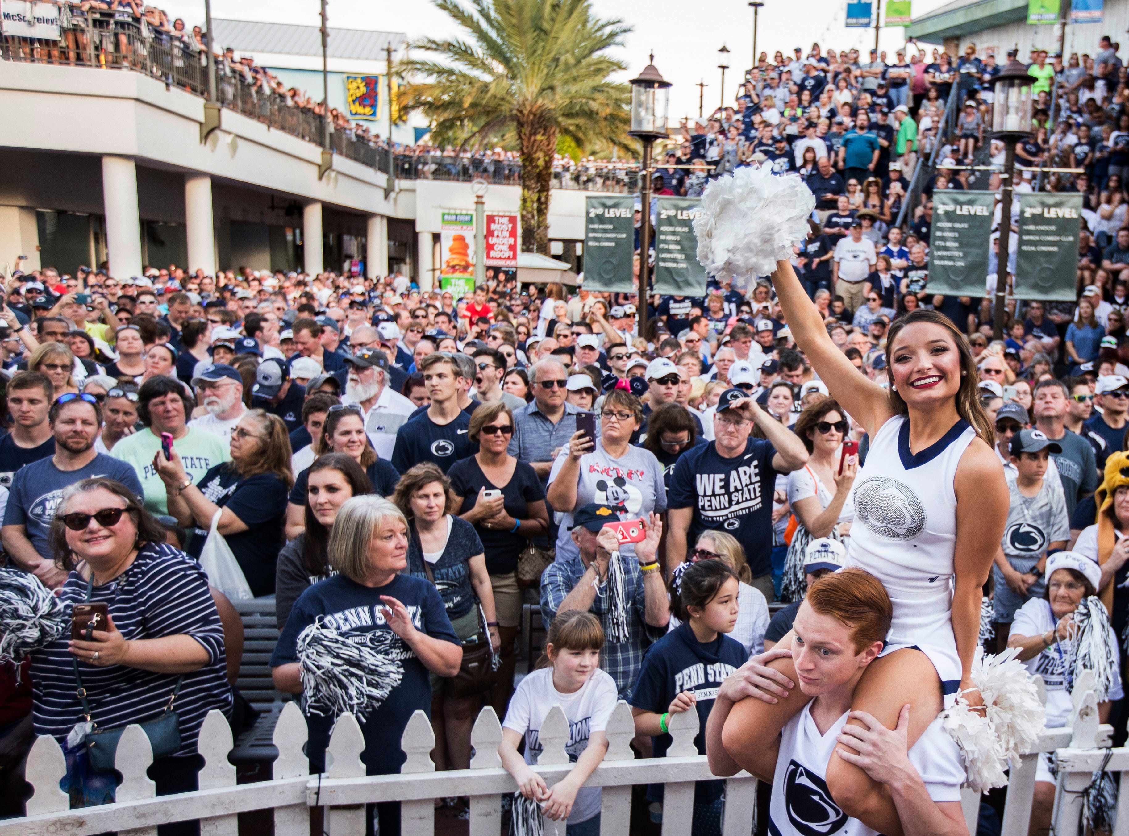 Penn State fans attend the Citrus Bowl college football game pep rally in Orlando, Fla., Monday, Dec. 31, 2018. (Joe Hermitt/The Patriot-News via AP)