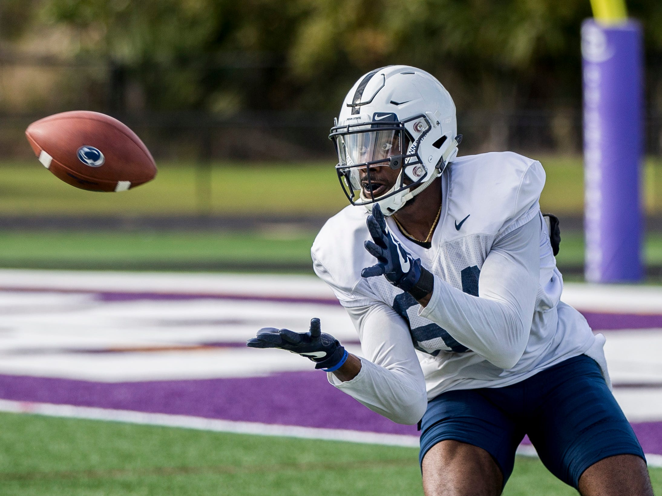 Penn State wide receiver Juwan Johnson hauls in a pass during practice for the Citrus Bowl NCAA college football game on Saturday, Dec. 29, 2018, in Orlando, Fla. (Joe Hermitt/The Patriot-News via AP)