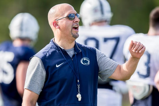 Penn State head coach James Franklin during practice for the Citrus Bowl NCAA college football game on Saturday, Dec. 29, 2018, in Orlando, Fla. (Joe Hermitt/The Patriot-News via AP)